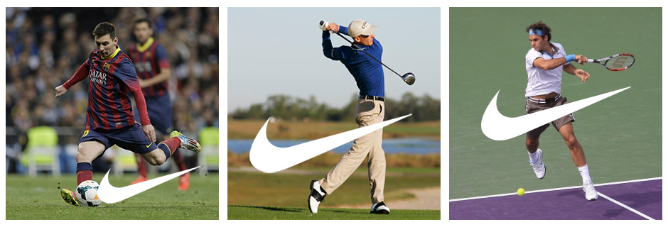 Please not that these images are NOT Nike campaigns, but just images I found on Google and am using to illustrate how the Swoosh mimics the motion of many moves observed in various sports.