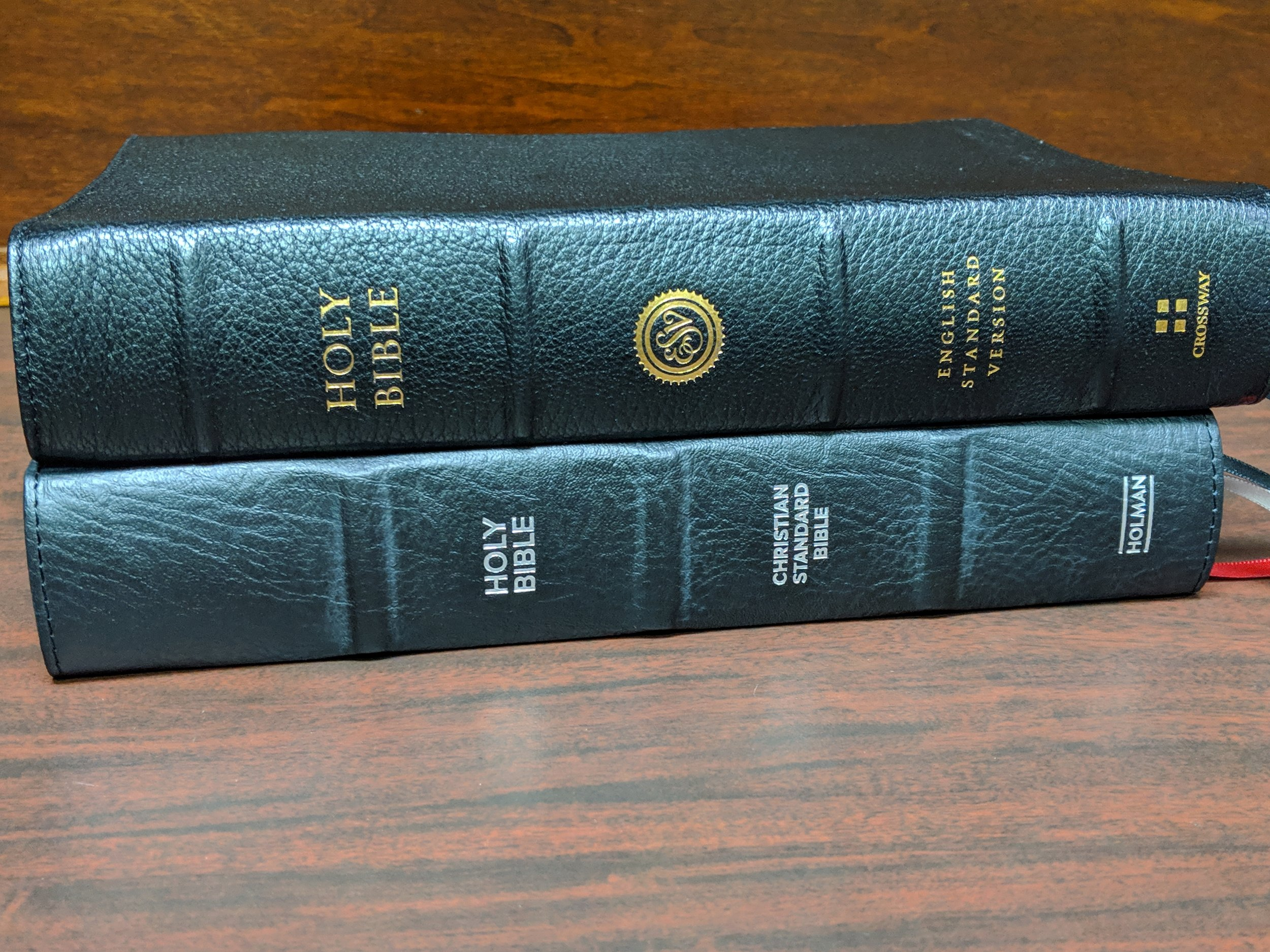 CSB Pastor's Bible on bottom ESV Preaching Bible on top