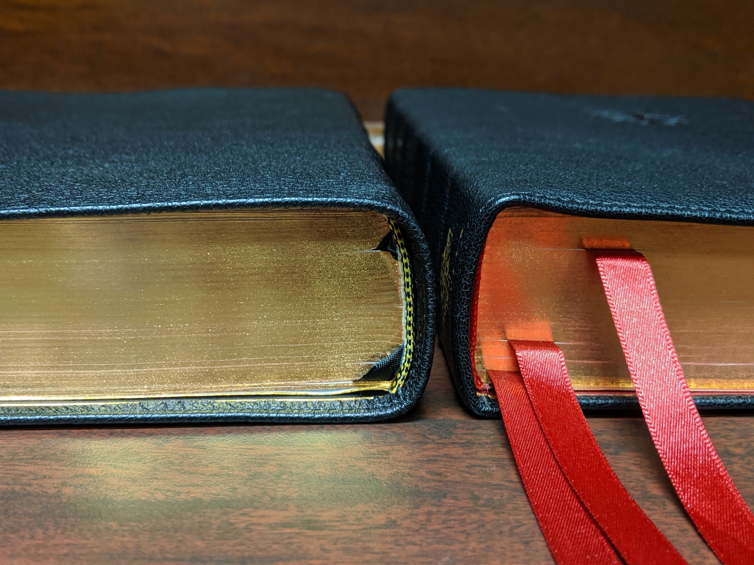 The Credo Quentel (right) may be just slightly thicker than the ESV Preaching Bible.
