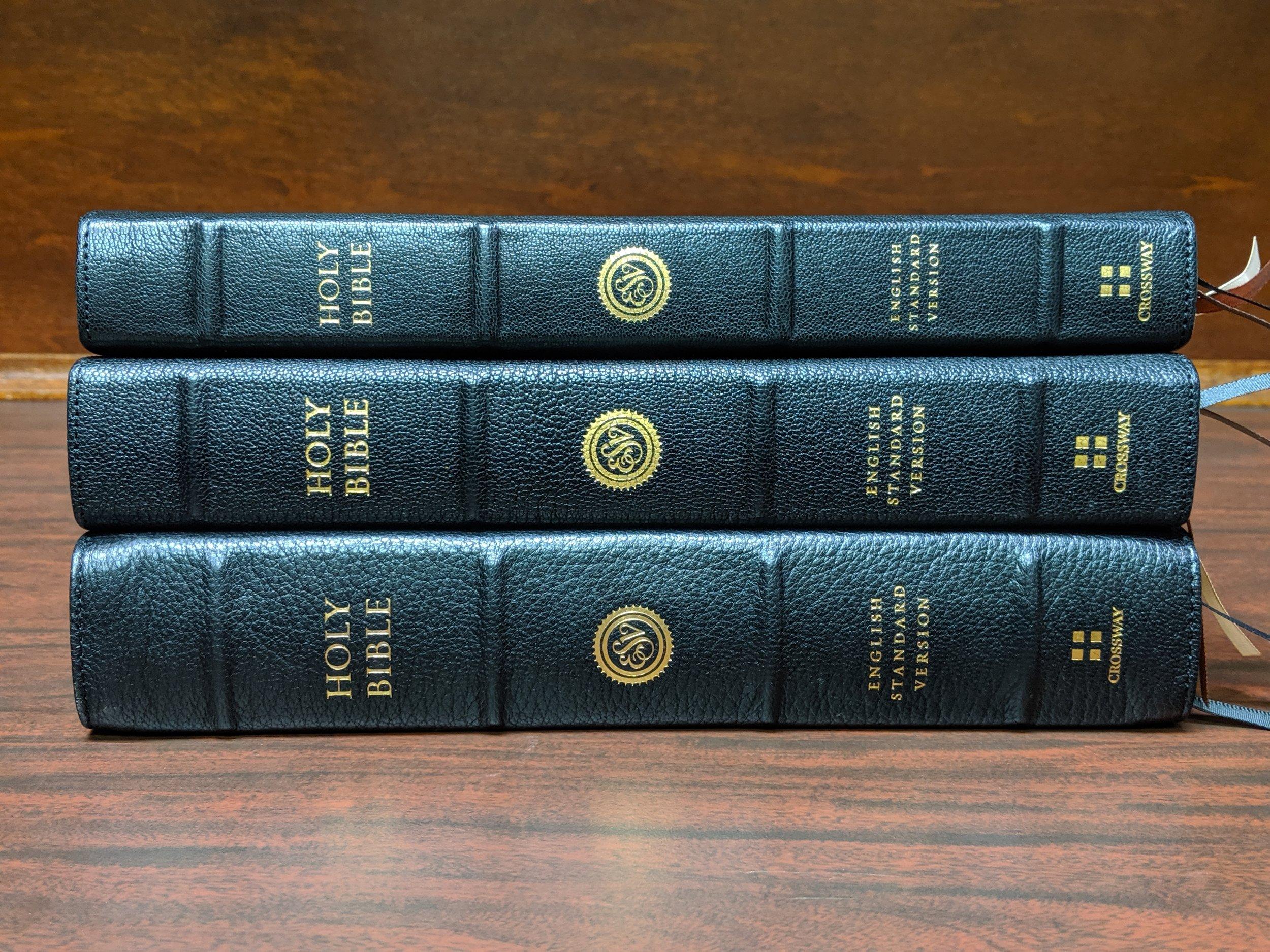 Bottom to top: ESV Preaching Bible, Heirloom Legacy, ESV Omega