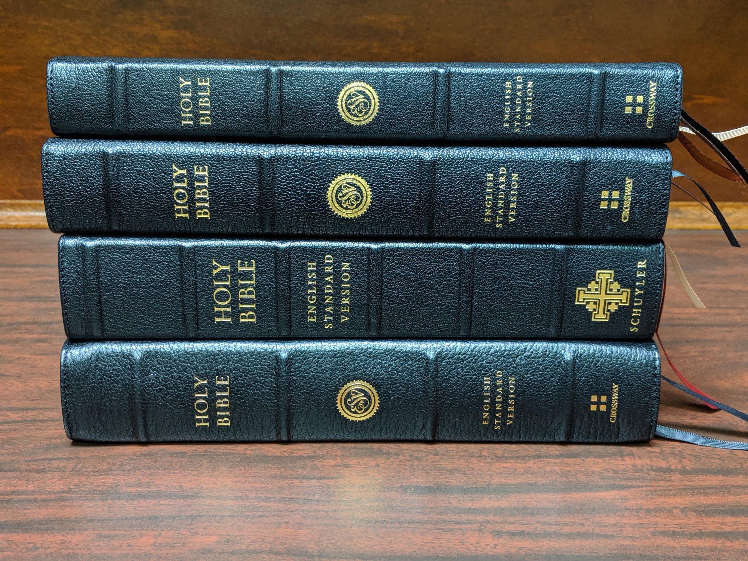 Bottom to Top: ESV Preaching Bible, Schuyler Credo Quentel, Heirloom Legacy, ESV Omega