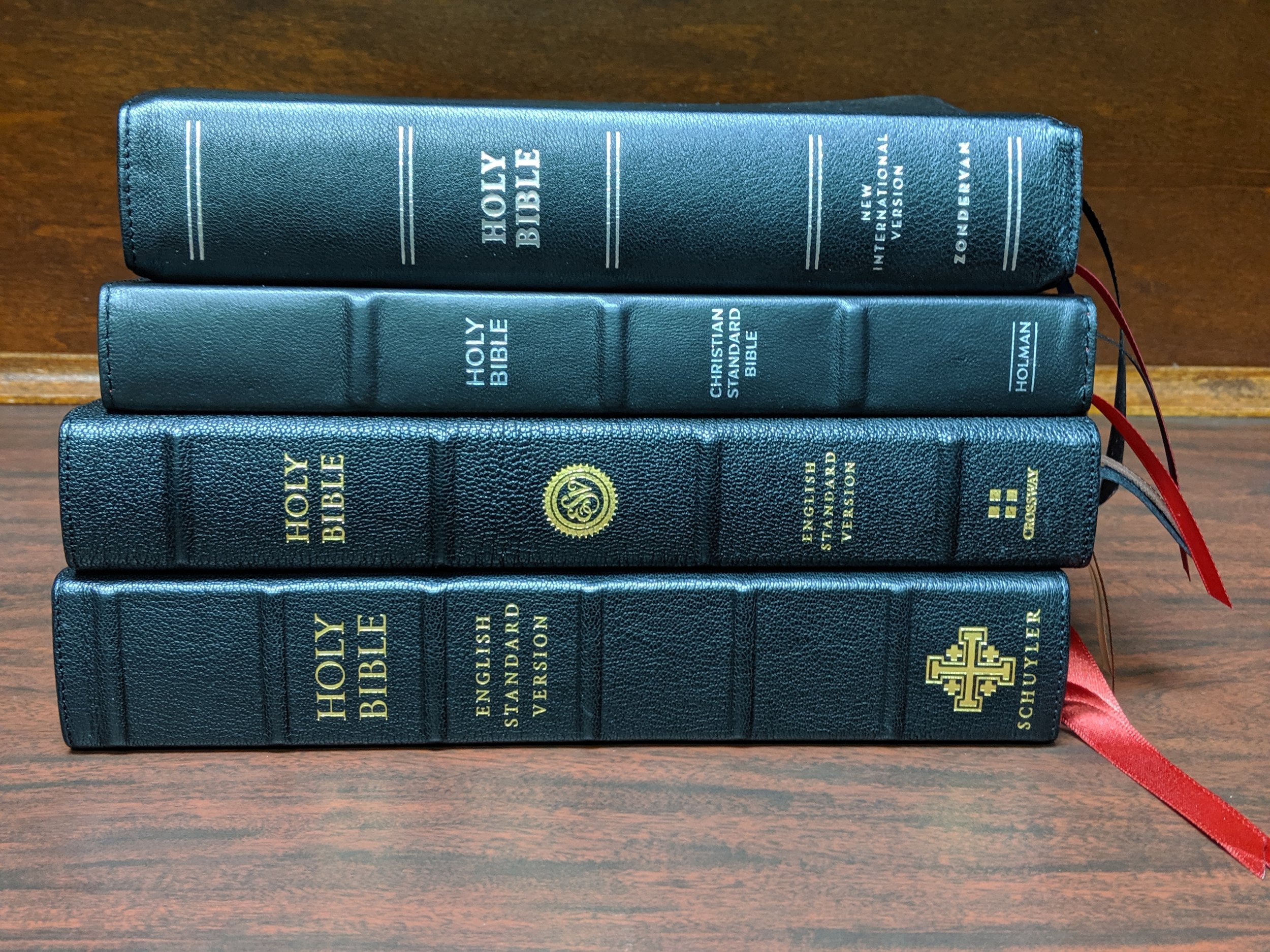 top to bottom: NIV Premier, CSB Large Print Ultra Thin, ESV Heirloom Legacy, Schuyler Credo Quentel