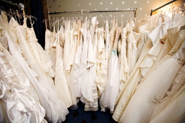 Rack of wedding dresses, Jesse Ranch