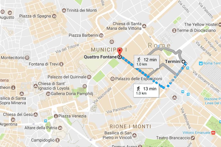 1. From Termini to Quattro Fontane