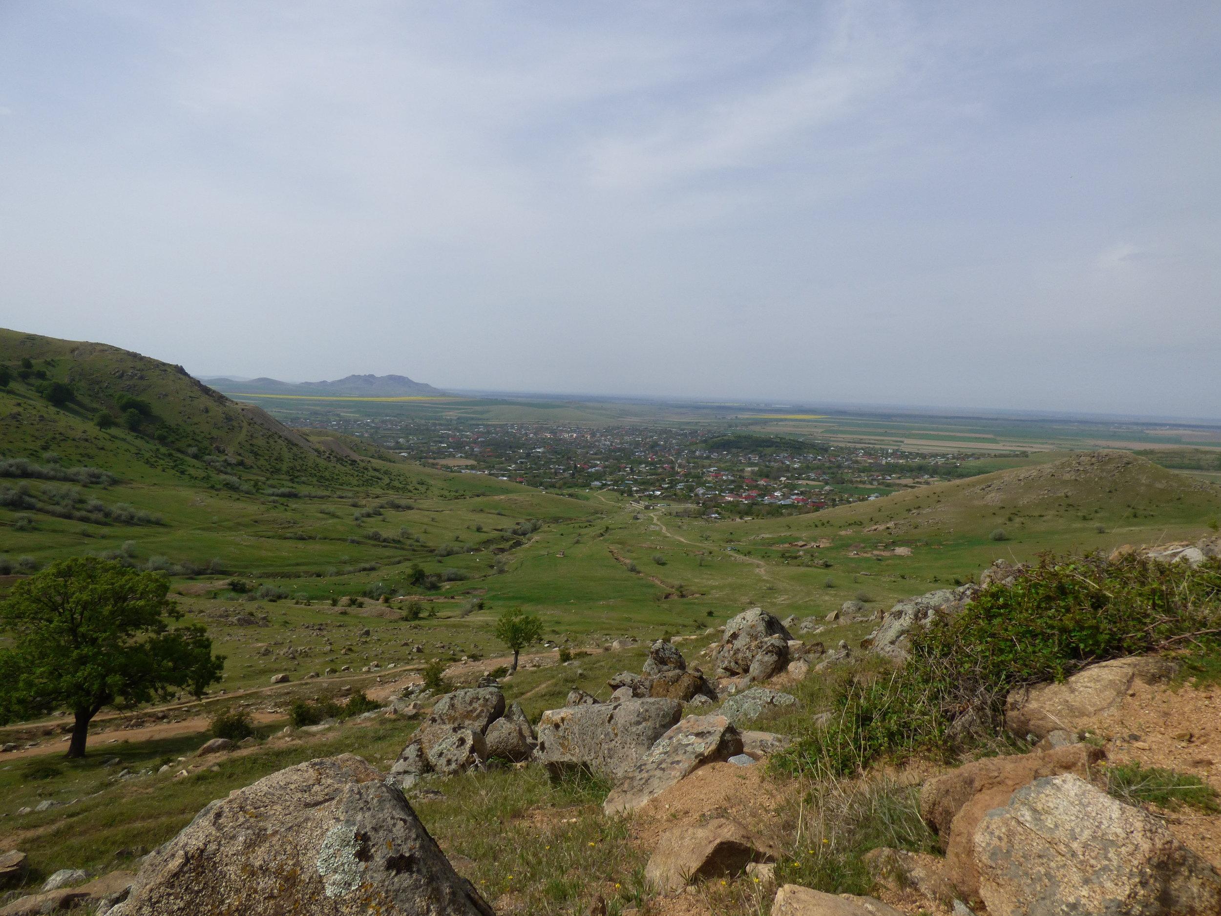 View of Greci from Tugulea Peak in Macin Mountains Romania
