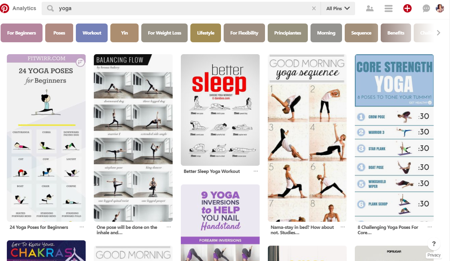 Learn how to use Pinterest to inspire others to practice yoga & grow your business at the same time | Plus free list of 100 yoga board ideas. Read more at www.monicabadiu.com