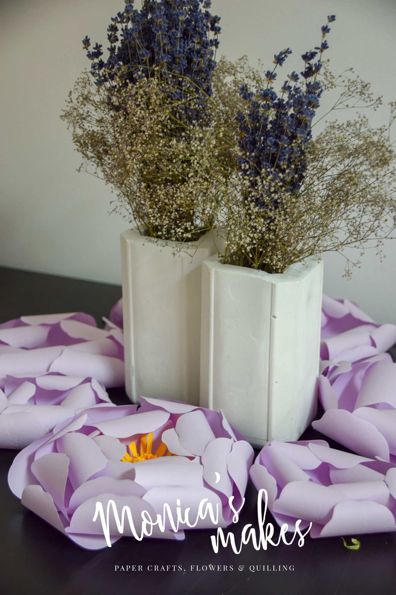 DIY Cement Flower Vases - Beautiful and Easy to Craft - www.monicabadiu.com