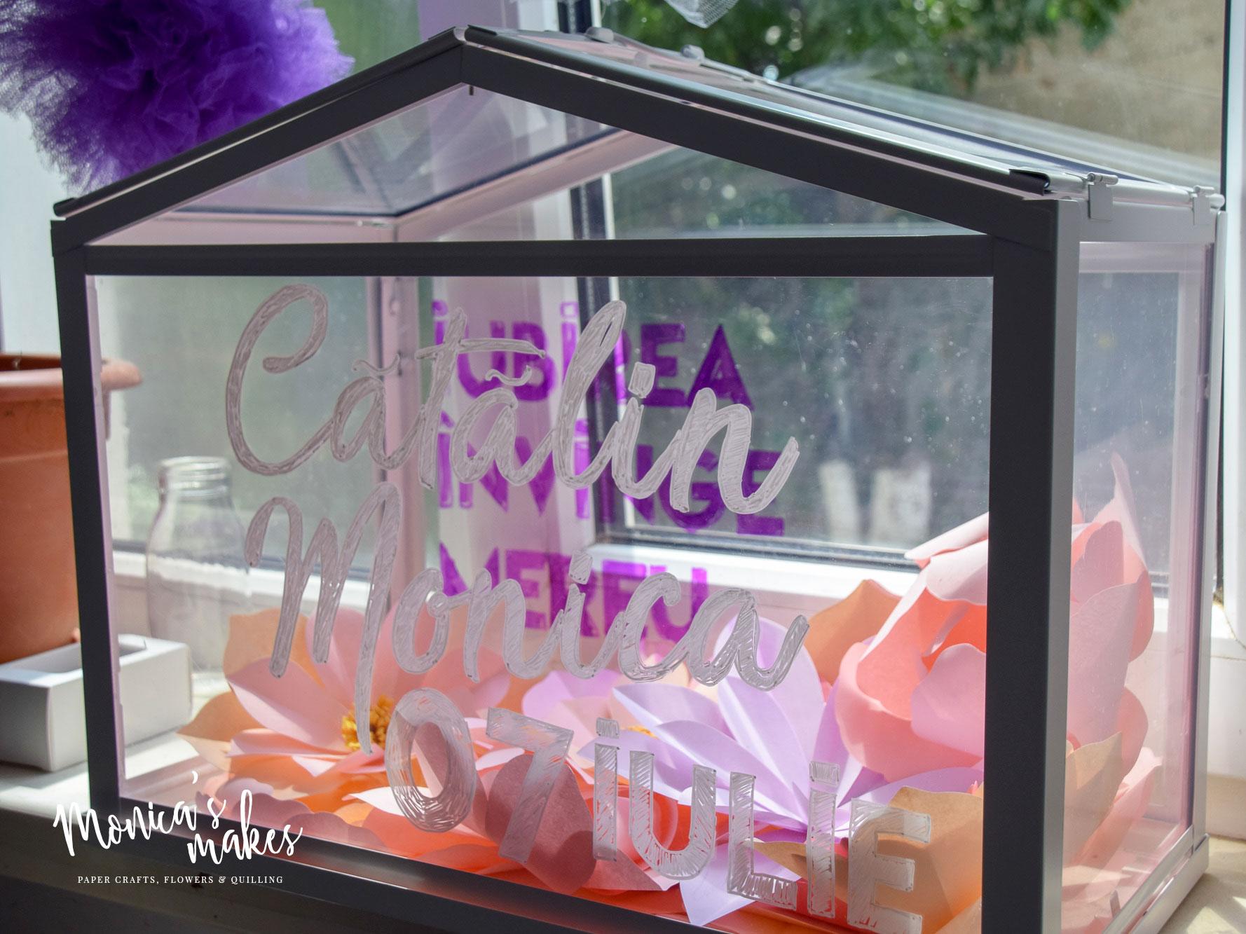 DIY Wedding Ideas: Making a Money Box out of an IKEA Green House - See the tutorial at www.monicabadiu.com