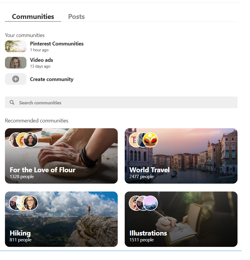 Communities are now in test for Pinterest users - This is Pinterest's way of adding a social media component to its current search engine experience.