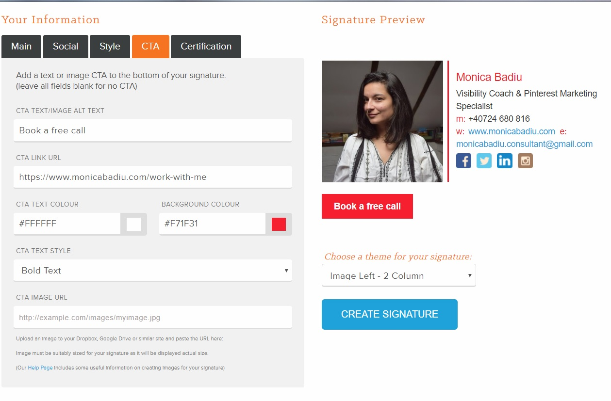 Free Tool to Create a Professional Email Signature - Read more at www.monicabadiu.com  #email #emaildesign #emailtemplates #visibilitystrategy #emailmarketing #marketingtips