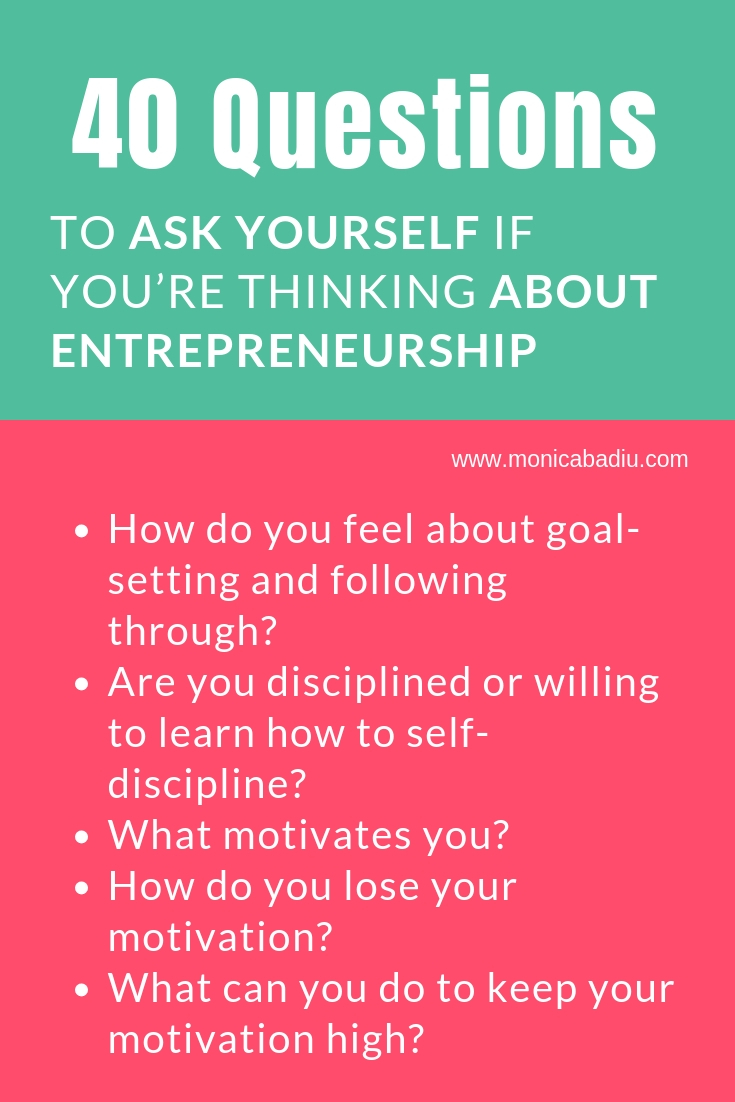 40 Questions to Ask Yourself If You're Thinking About Entrepreneurship - Full list at www.monicabadiu.com #entrepreneurship #girlboss #mindsetwork #personalgrowth #introspection