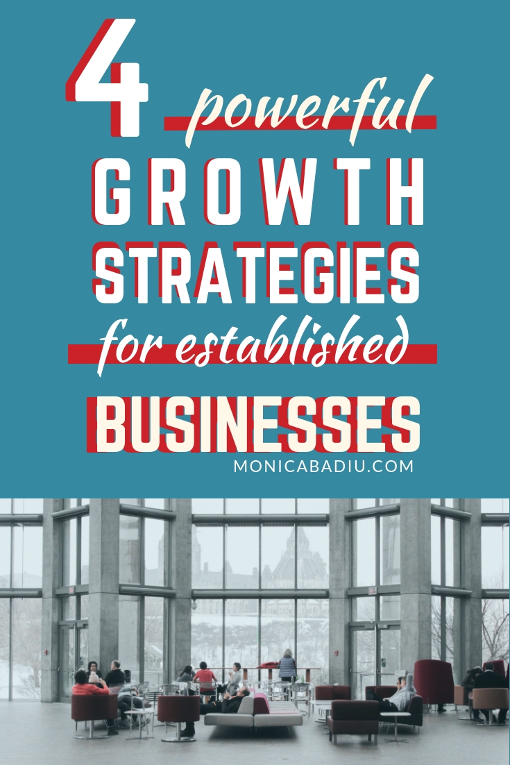 4 Powerful Growth Strategies for Established Businesses That Want to Expand Their Customer Base & Grow Revenue via monicabadiu.com #visibilitycoach #marketing #smallbusiness #growthmindset #entrepreneurship #b2b #growthstrategy