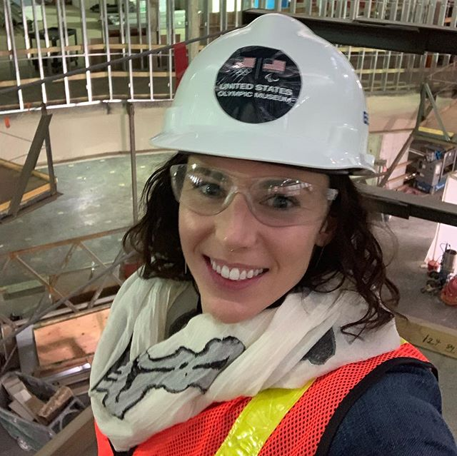 Toured the new @usolympicmuseum this morning with a great group of Olympic and Paralympic athletes. Also, I figured out how to adjust my hard hat this time!
