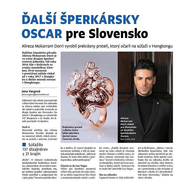 Thank you Kosice Dnes  Napísali o našom úspechu -  Ďakujeme KOŠICE:DNES najväčší lokálny mediálny dom na Slovensku. . تیتر خبر :دومین اسکار جواهرات برای جمهوری اسلواکی . #slovakia #highjewelry #alishahjewelry