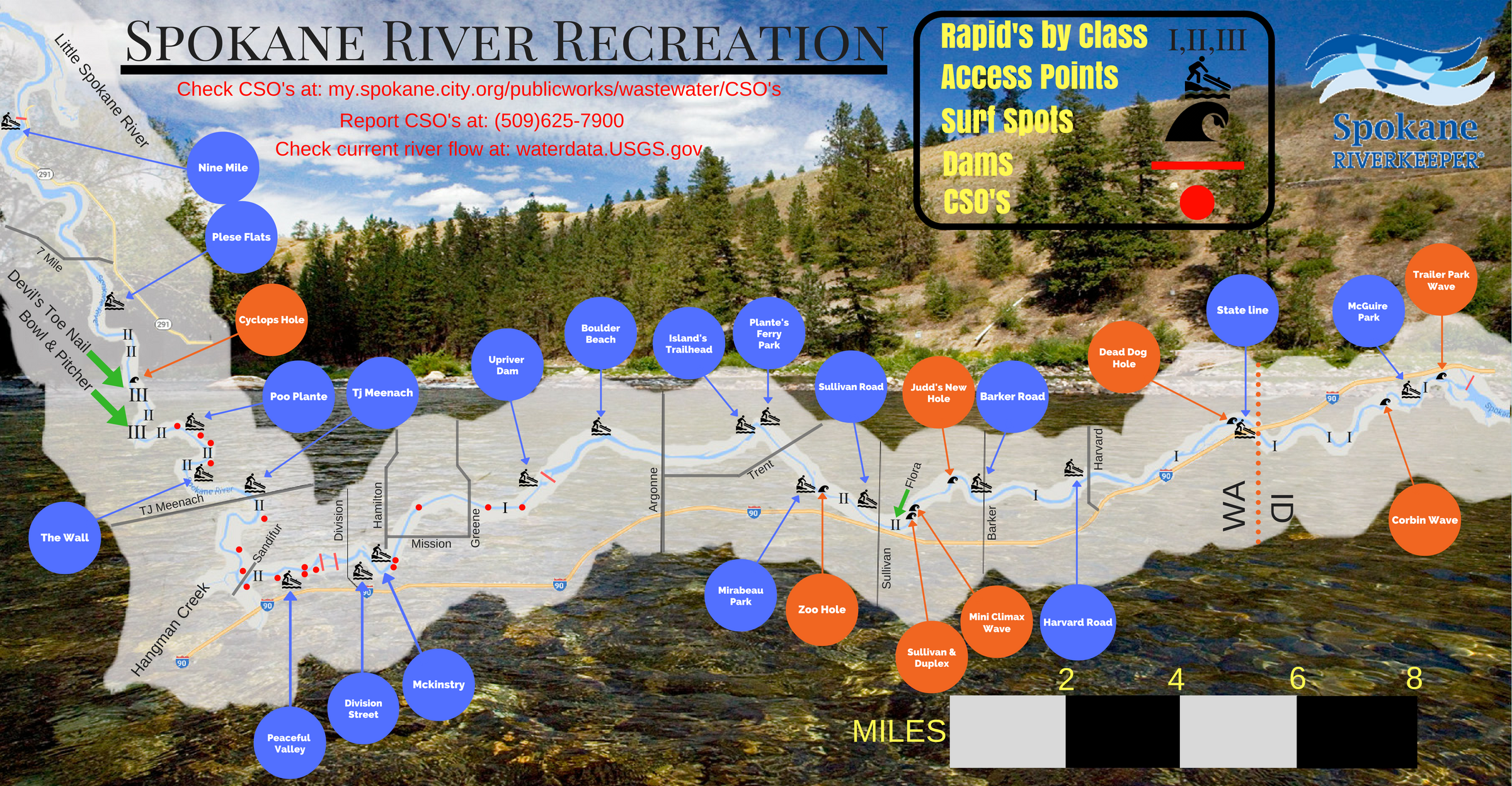 We helped produced a multi-map of the river from below Post Falls Dam to Riverside State Park, meant to be viewed as eight-fold. One side shows access points and rapids, the other has some great river facts.