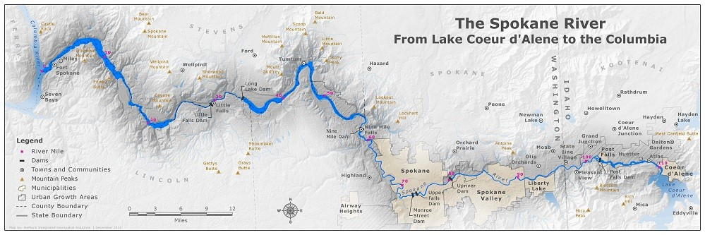 The Spokane River extends from Lake Coeur d'Alene to the Columbia River.