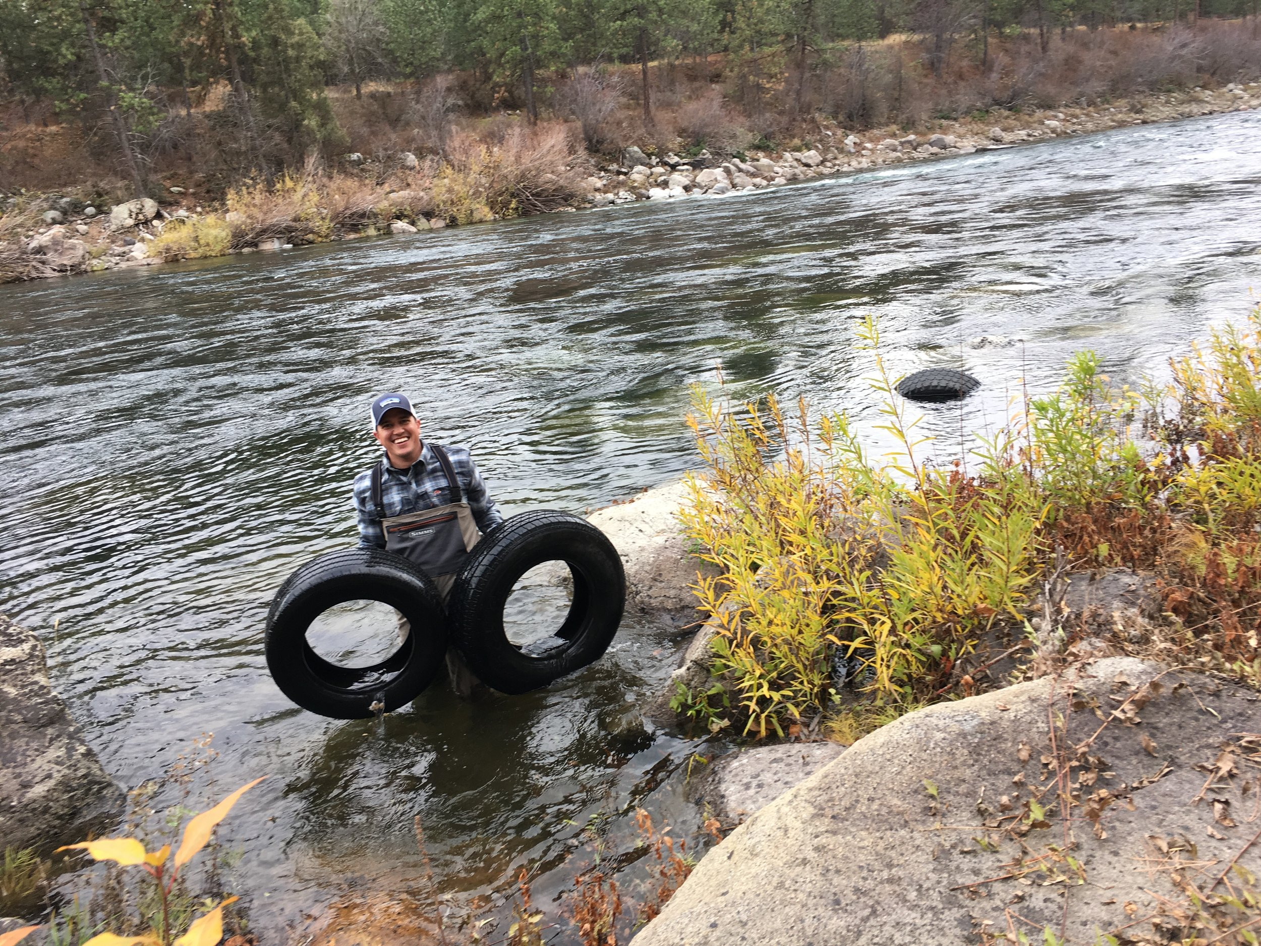 Sean Visintainer of Silver Bow Fly Shop helped us remove over 200 tires from the banks and bottom of the Spokane River.