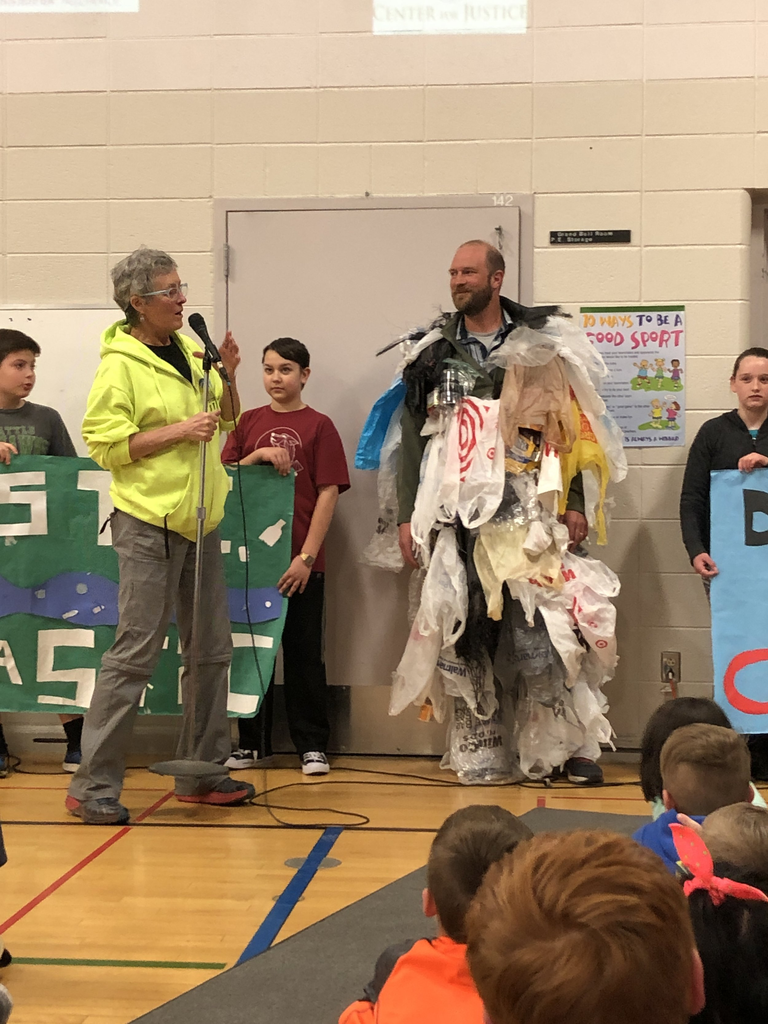 The kids at Summit School found a good use for all the trash they collected on their river clean up.  A trash monster costume!