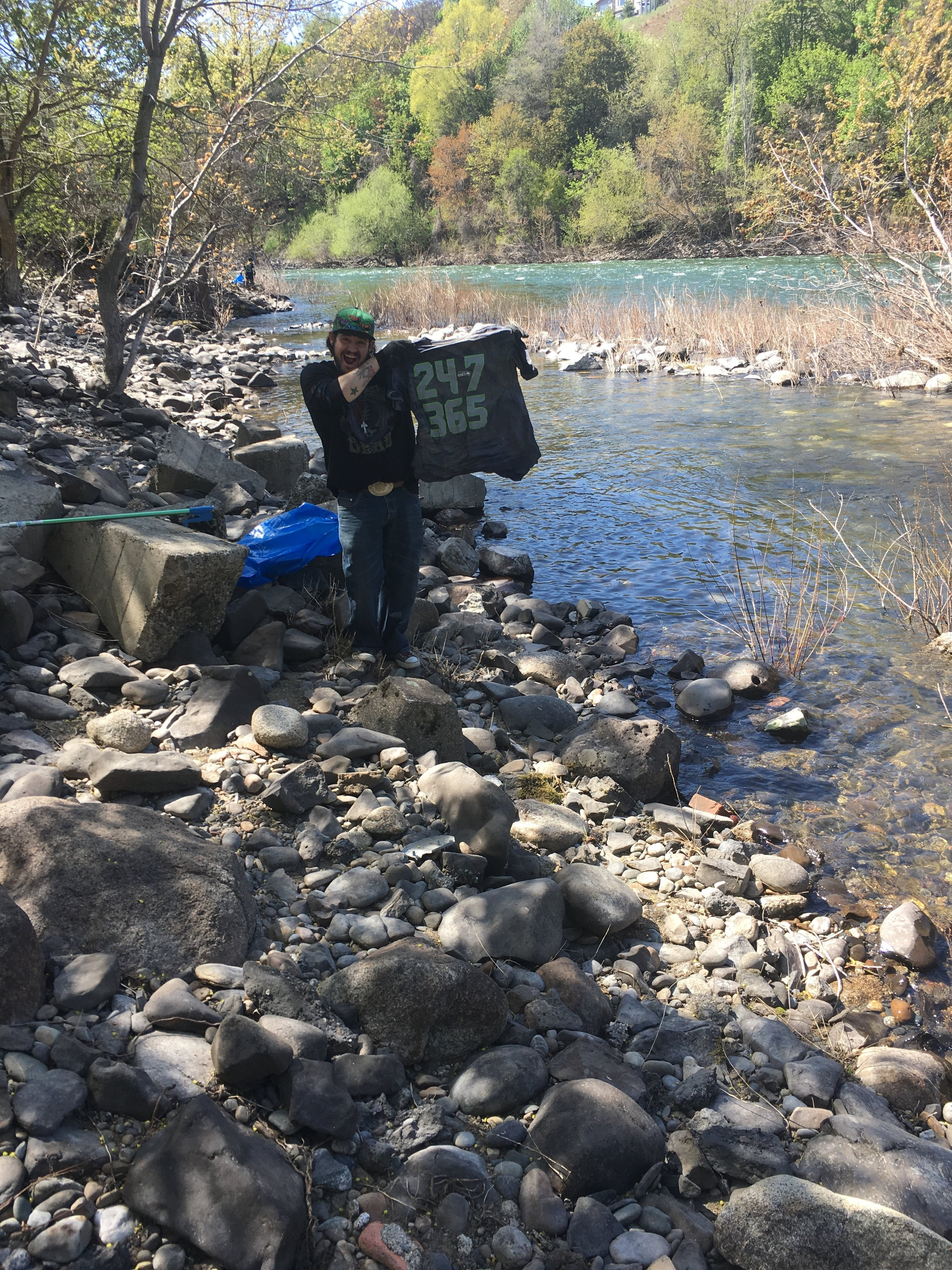 A typical river clean up involves walking the banks of the Spokane River, along paths or uneven surfaces.