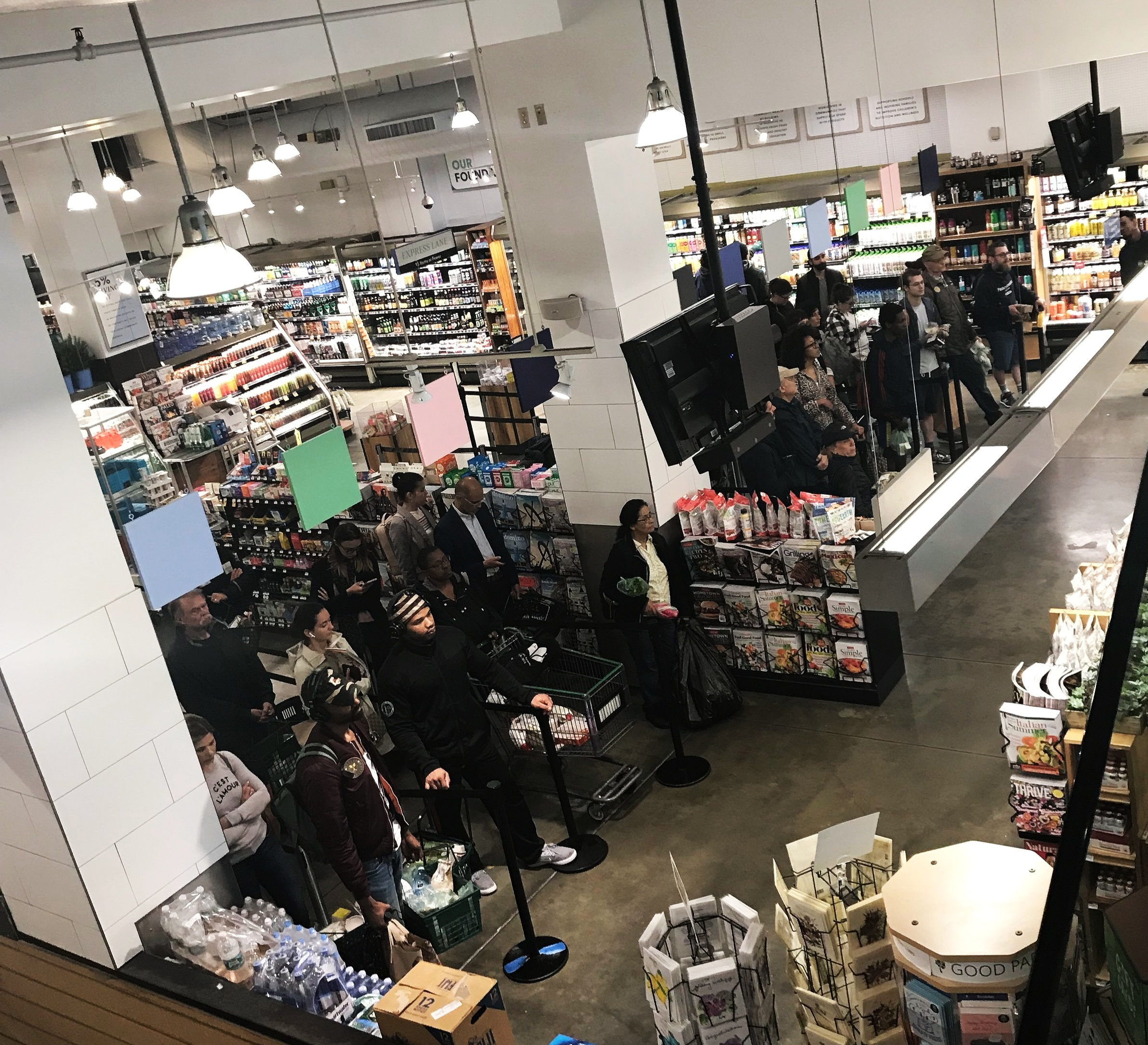 - Live footage of the checkout line at the Whole Foods Union Square Location Pure Chaos!