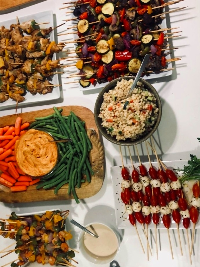 Select Recipes From The Rose Sioree Menu   -  Veggie Party Platter   -  Chicken Skewers
