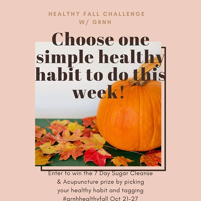 "We're kicking off this week introducing our #GRNHHEALTHYFALL challenge. A week of healthy habit building for the busy Fall SEASON! ⁣⁣ ⁣ #GRNHHEALTHYFALL Giveaway⁣ Oct 21-27⁣ -Choose one of our 6 challenges below to incorporate into your daily routines for the next week! ⁣⁣ 1. Take your vitamins daily⁣⁣ 2. 15 minutes of activity daily ⁣⁣ 3. 2 extra servings of fruit & veggies daily ⁣⁣ 4. Take 5 minutes for meditation each day⁣⁣ 5. Drink an 8oz glass of water first thing in the morning⁣⁣ 6. 7-9 hours of sleep every night ⁣⁣ Challenge yourself daily this entire week to be a healthier, happier you this Fall. ⁣⁣⁣ ⁣ Tag us in your photo or Instagram story with #GRNHHEALTHYFALL to be entered into a giveaway for a FREE SUGAR CLEANSE with me and ACUPUNCTURE APPOINTMENT with Carrie Dennie, ND at our office! ⁣⁣⁣ ⁣⁣⁣ GIVEAWAY⁣ -Must be following: @andreahop_healthcoach, @grnaturalhealth, @drcarriend - ""LIKE"" this post ⁣⁣⁣ - Tag your friends below who you want to do our #GRNHHEALTHYFALL Challenge with!⁣⁣⁣ -Tag @grnaturalhealth and #GRNHHEALTHYFALL in your photo/Instagram story doing your chosen challenge! ⁣⁣*Each share and/or tag is 1 entry*⁣⁣ ⁣⁣⁣ We're excited to kick off Fall the right way, can't wait too see everyone's hard work this week!⁣⁣"