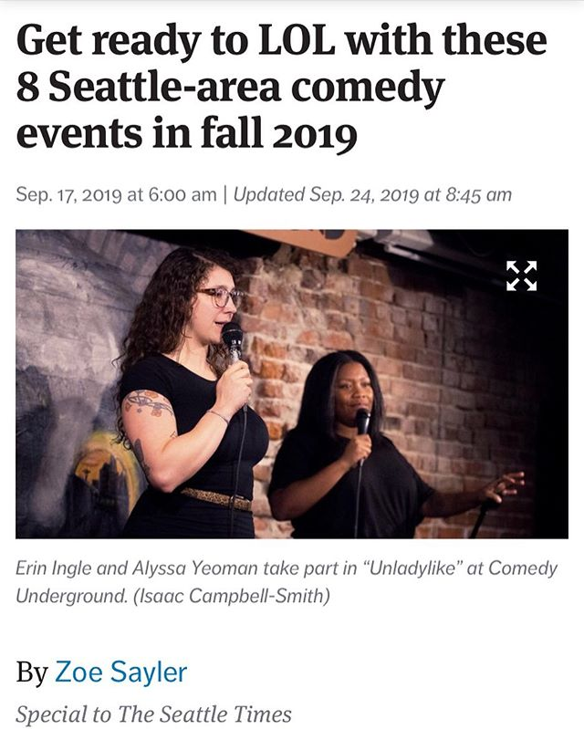 Thanks so much to @zoeneile and @seattletimes for including #Unladylike and #HotSeat in this list of dope shows to see this fall!!