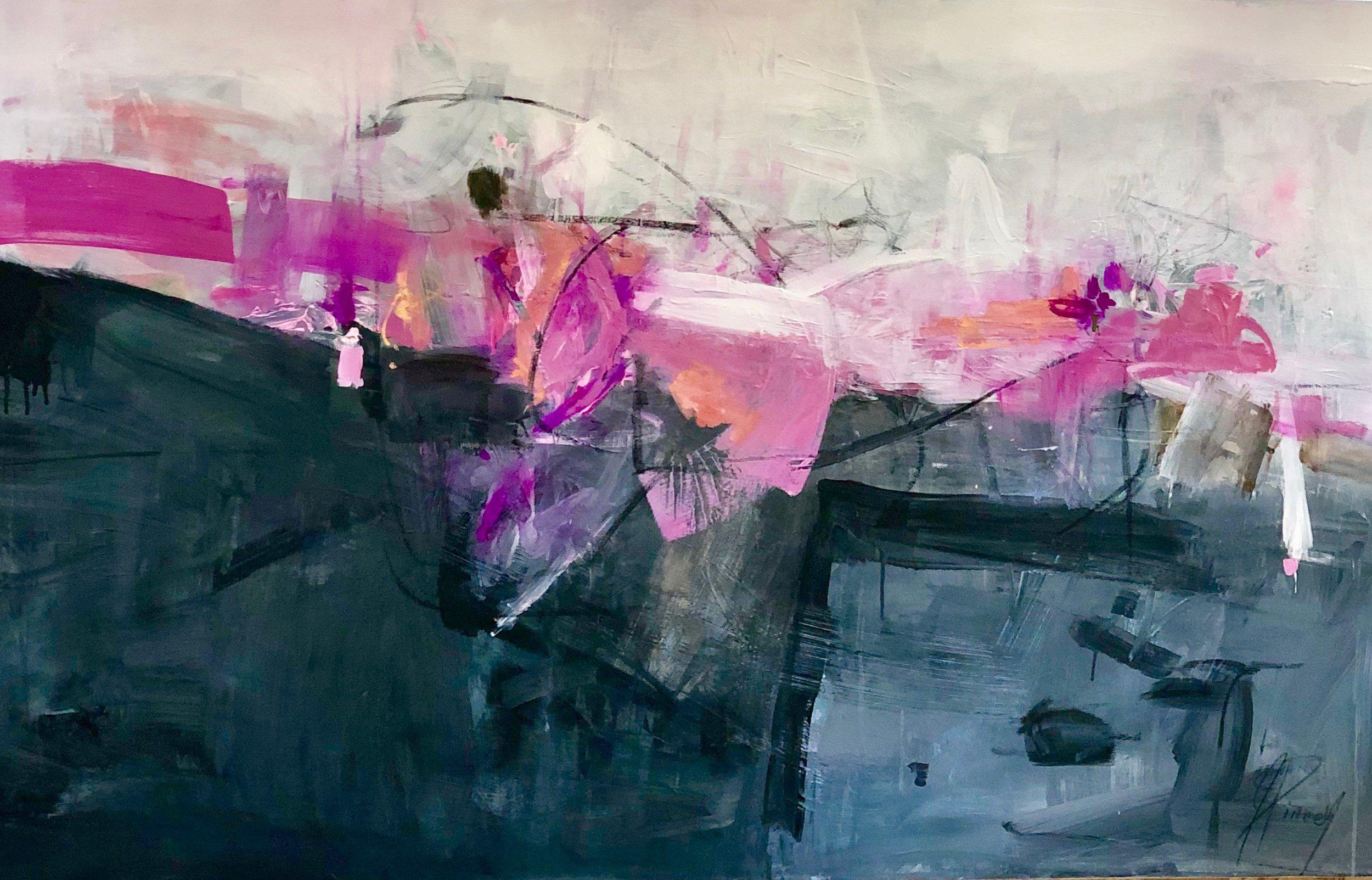 Dalhias at Dusk 3 ft X 5 ft mixed media on canvas $3300 copy.jpeg