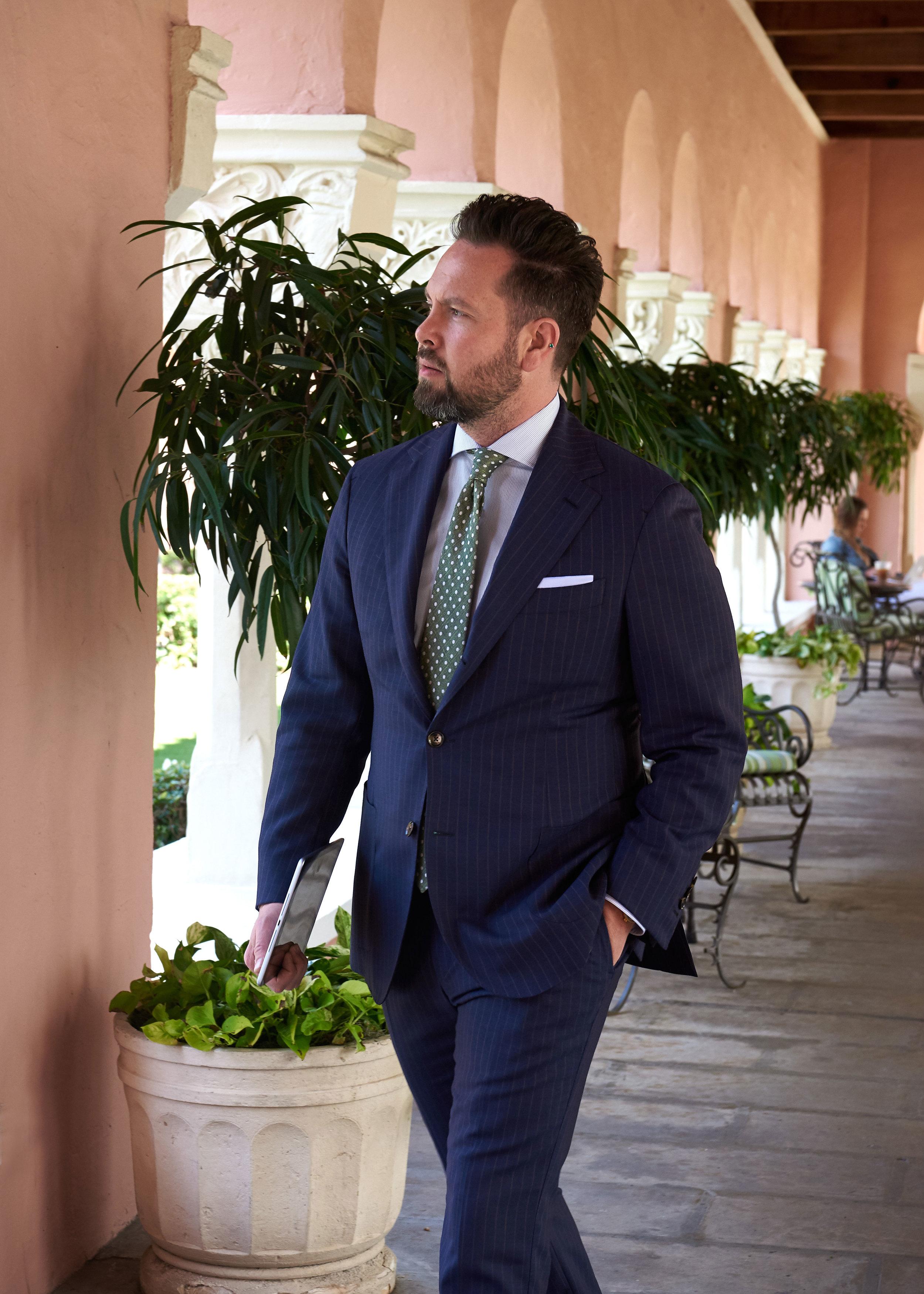 Suit Cloth :: Dormeuil Tonik Wool No. 290049, 295 gm  Made to Measure $3085  Bespoke $3760  Shirt Cloth :: Piumino Melange Twill, Thomas Mason No. F359762-13  Made to Measure $365  Bespoke $425