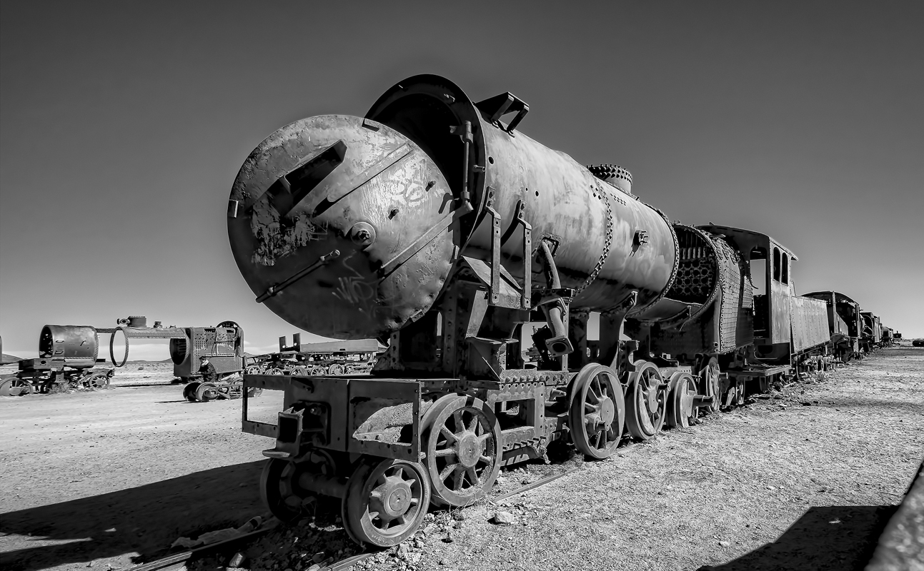 Train Graveyard Uyuni edge of salt flats