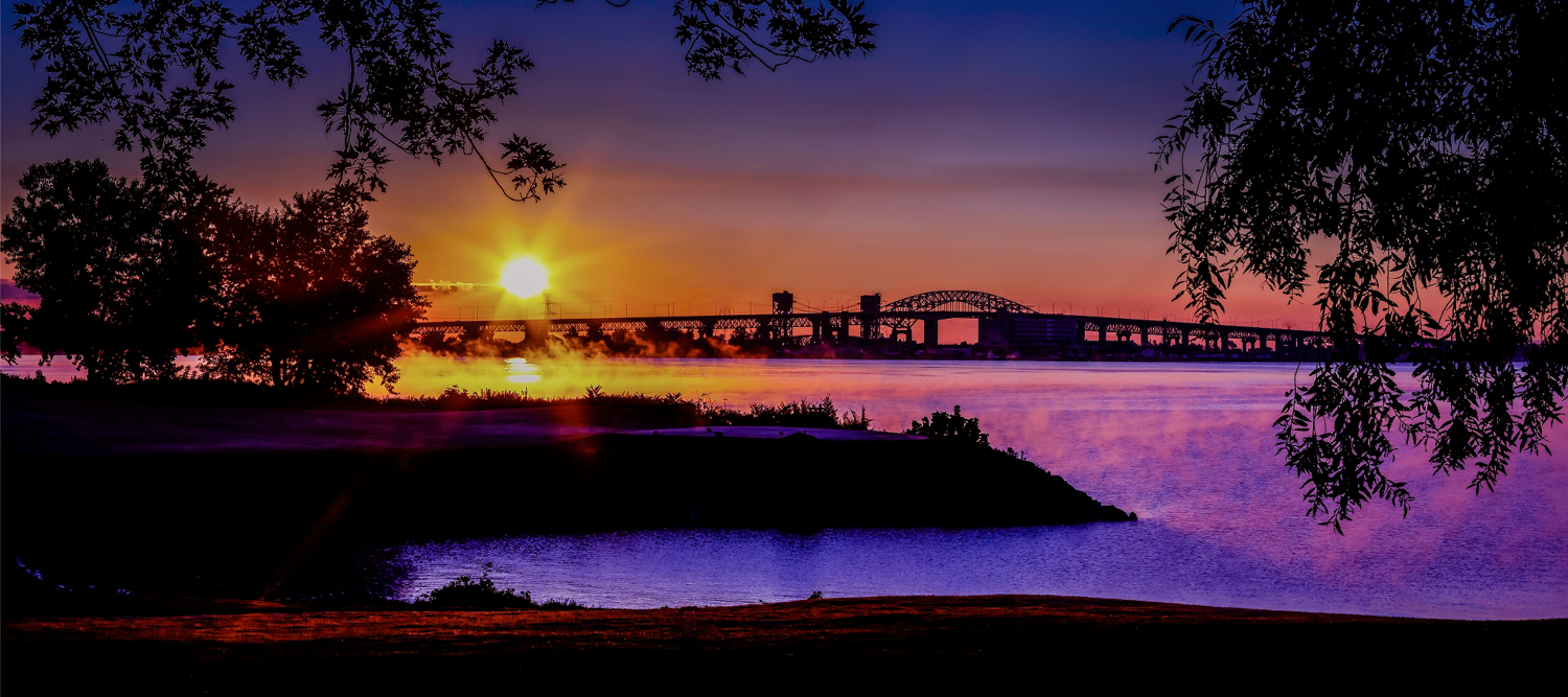Sunrise over Burlington Bridge