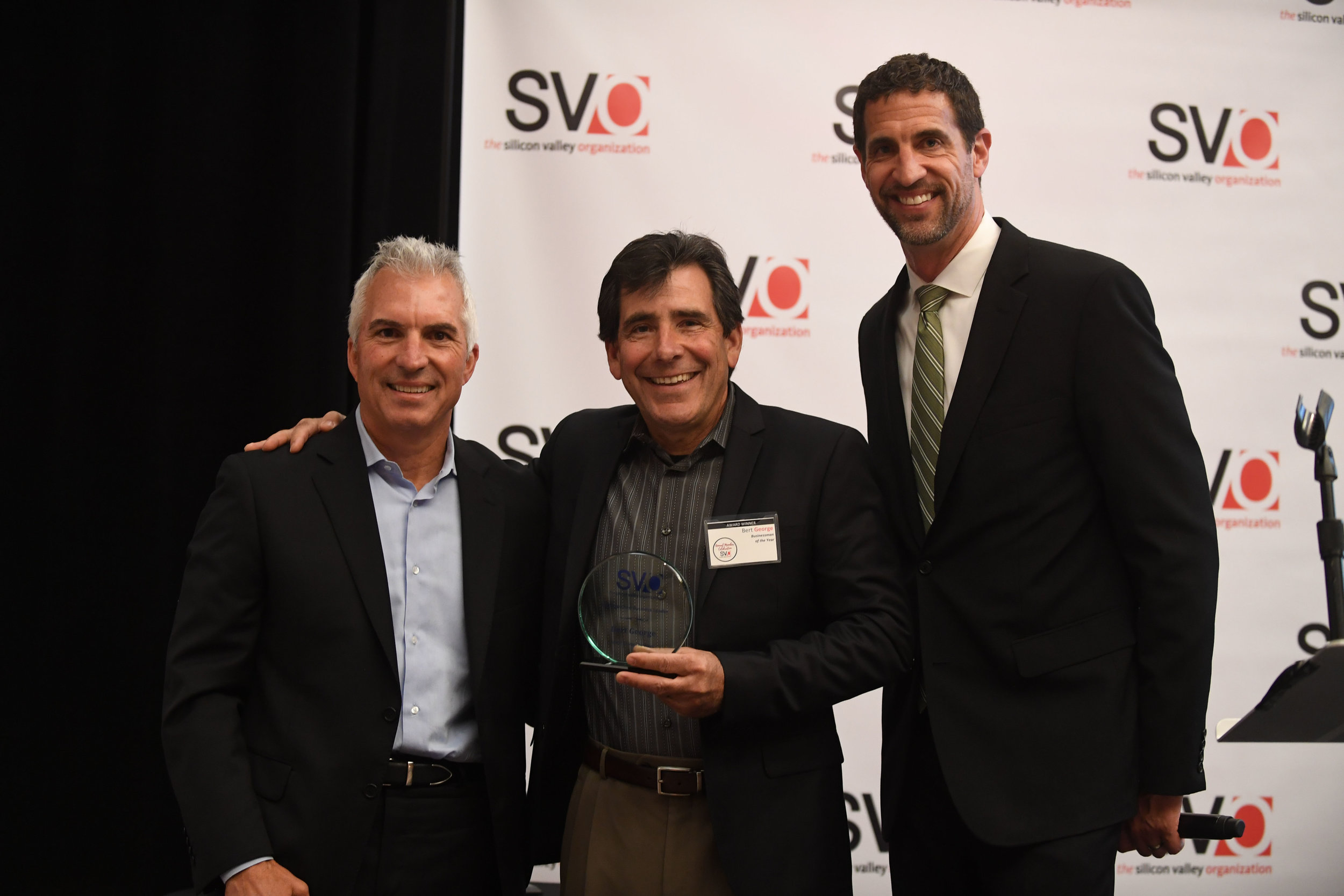 From left: The silicon valley organization Board Chair Dan Bozzuto, 2017 Distinguished Business Leader Bert George, Joseph George Fine Wines; and The SVO President & CEO Matt Mahood.