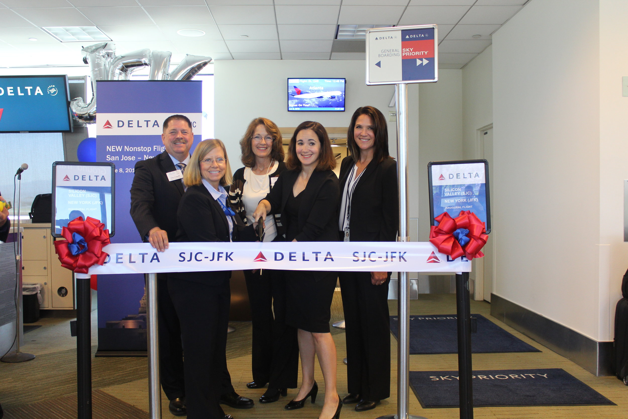 L to R:   Back row  – Dan Connolly and Catherine Hendrix, Airport Commission;  Front row  – Judy Ross, SJC Assistant Director of Aviation; Delta's Dana Debel, Managing Director, State & Local Government Affairs and Lisa Harbeson, SJC Station Manager.