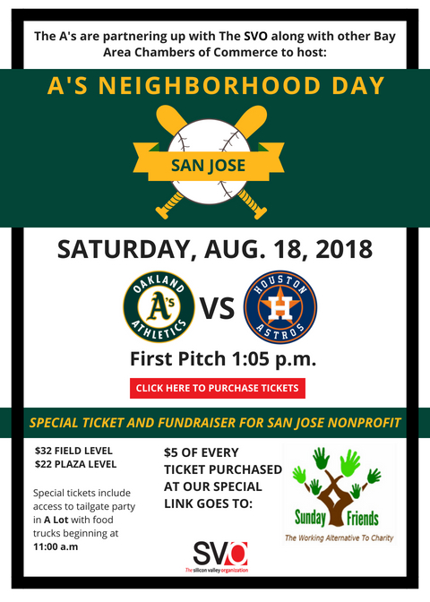 Oakland A's The Silicon Valley Organization Sunday Friends