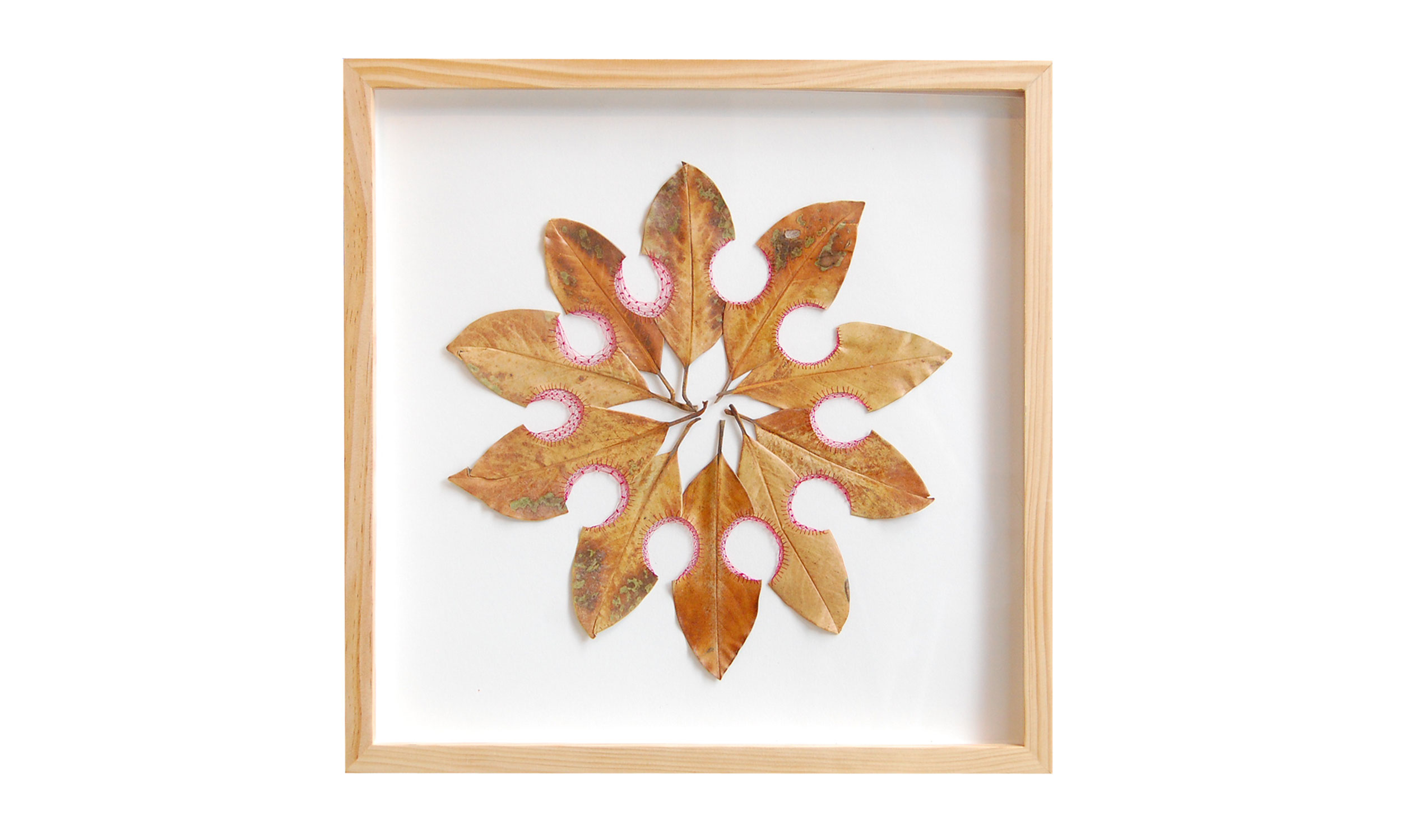 """Longer Than the Way,  hand cut and stitched magnolia leaves, 18"""" x 18"""", $1100    Contact us for purchase"""