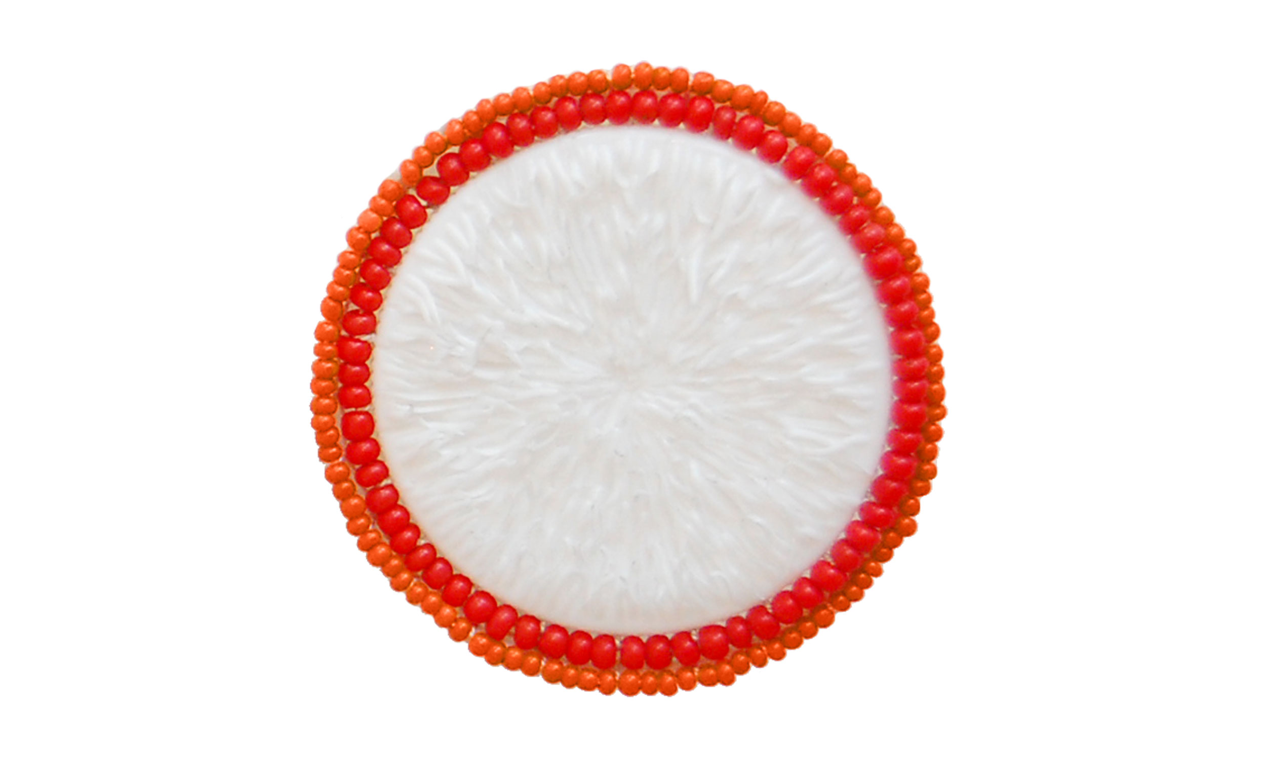 """Double Row Beaded Brooch,  reused pill bottle cap, cotton thread, plastic beads, steel pin back, approximately 2"""" around, $135    Contact us for purchase"""