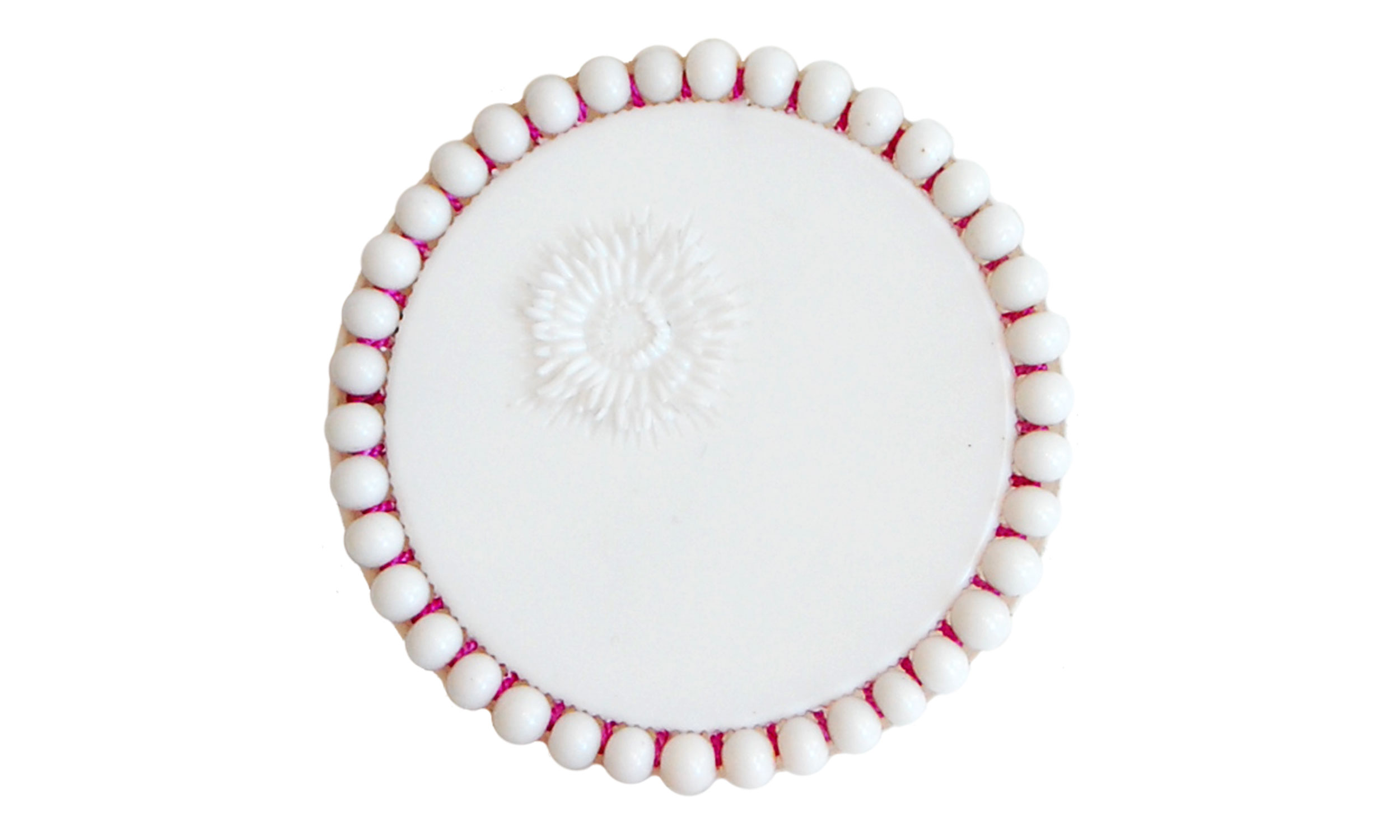 """Single Row Beaded Brooch,  reused pill bottle cap, cotton thread, plastic beads, steel pin back, approximately 2"""" around, $120    Contact us for purchase"""