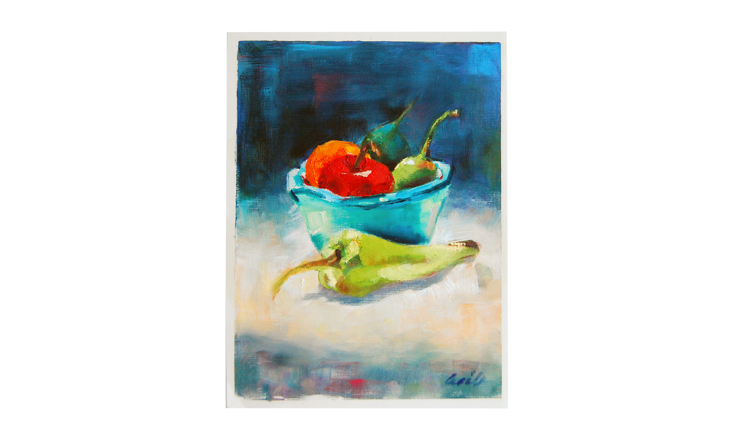 "Peppers and Fruit,  oil on paper, 9"" x 12"", $175    Contact us for purchase"