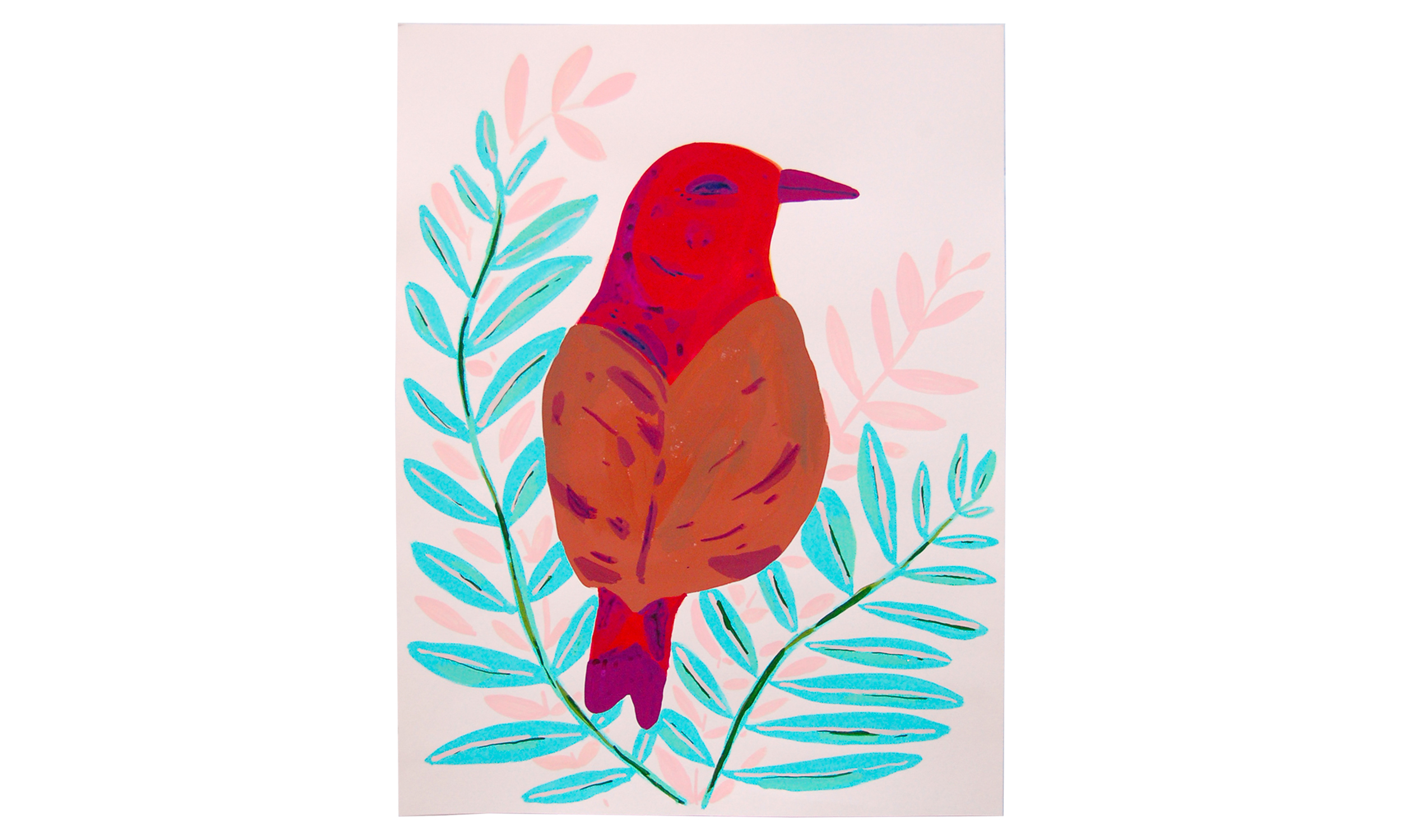 """Red/Brown Bird,  gouache and acrylic on paper, 19"""" x 25"""", $450    Contact us for purchase"""