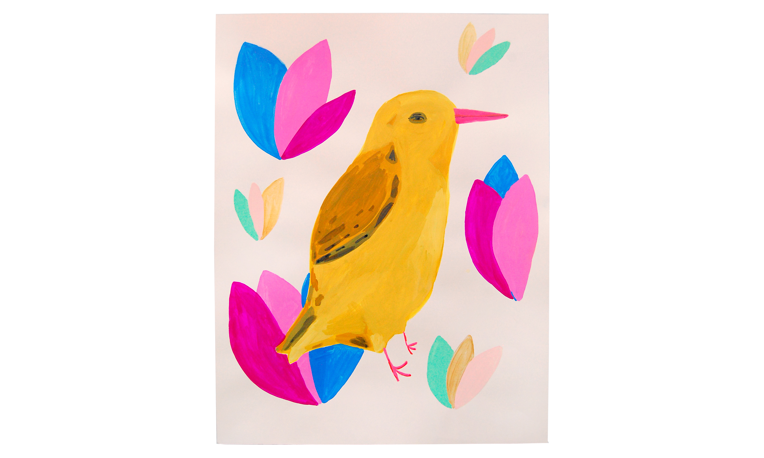 """Yellow Bird,  gouache and acrylic on paper, 19"""" x 25"""", $450    Contact us for purchase"""