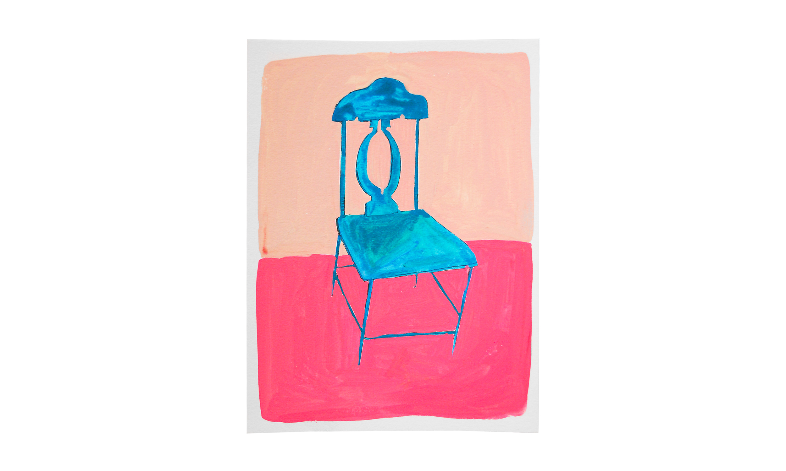"""Blue Chair,  ink, watercolor and gouache on paper, 8"""" x 10"""", $250    Contact us for purchase"""