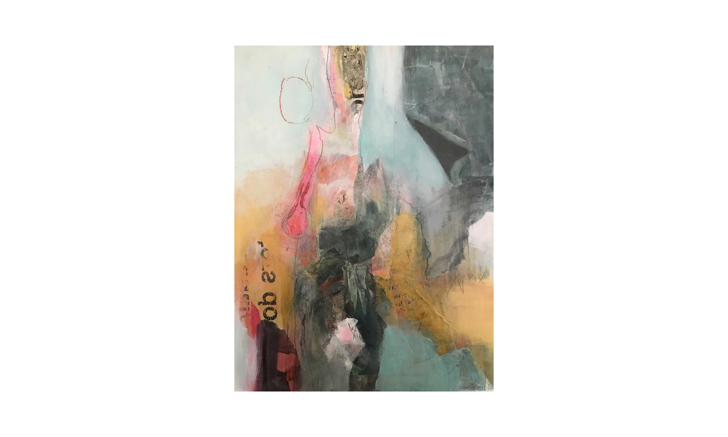 """En Esperant,  mixed media on panel, 9"""" x 12"""", $850    Contact us for purchase"""