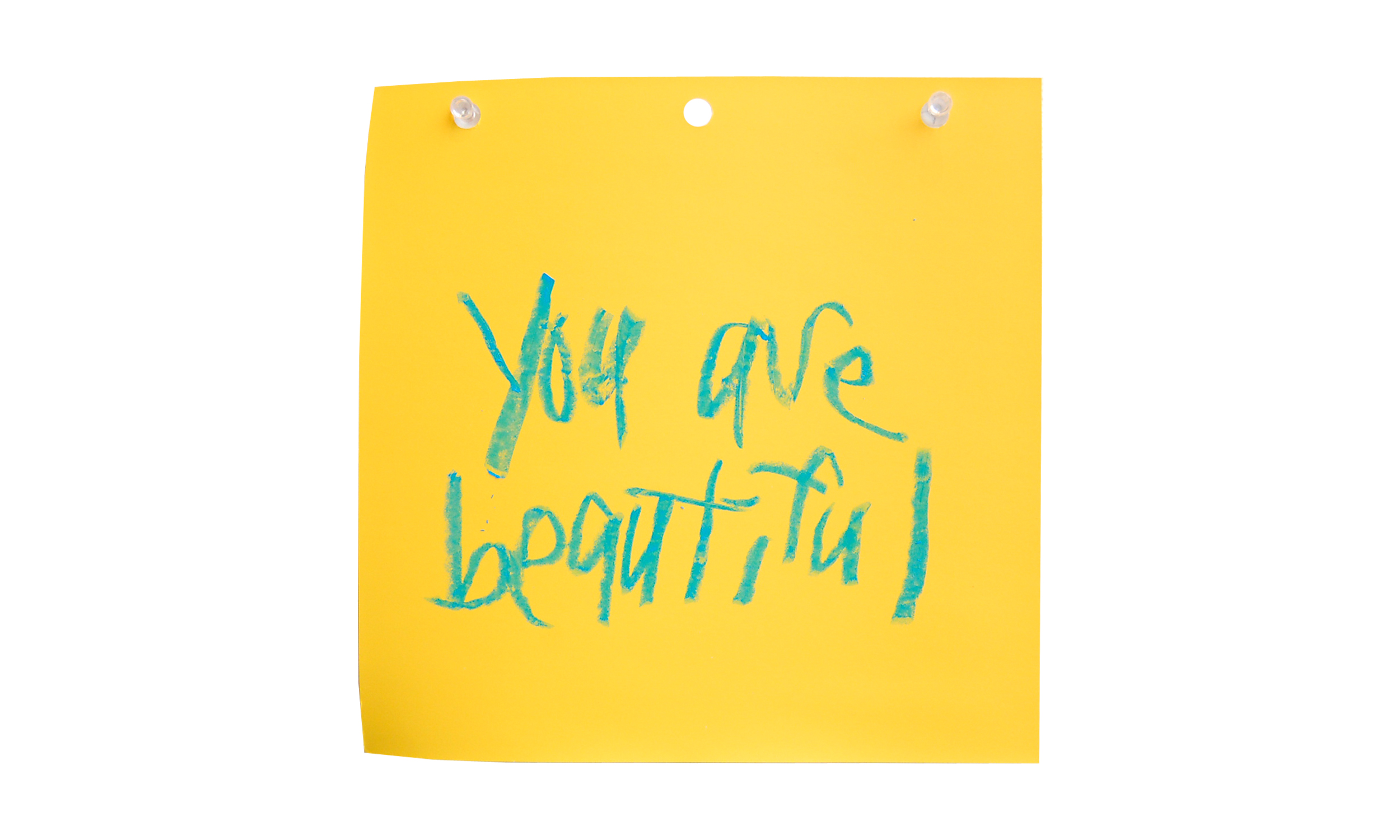 "You Are Beautiful XXIX,  oil pastel on paint swatch, 8"" x 8"", $50    Contact us for purchase"