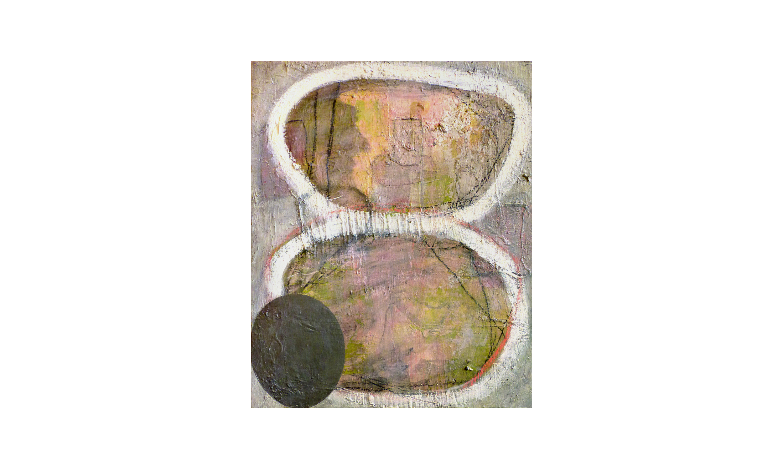"""Portal Choice,  acrylic, charcoal, graphite, ink, water-based crayon, polymer, metallics, and found matter on panel, 22"""" x 27"""", $1500    Contact us for purchase"""