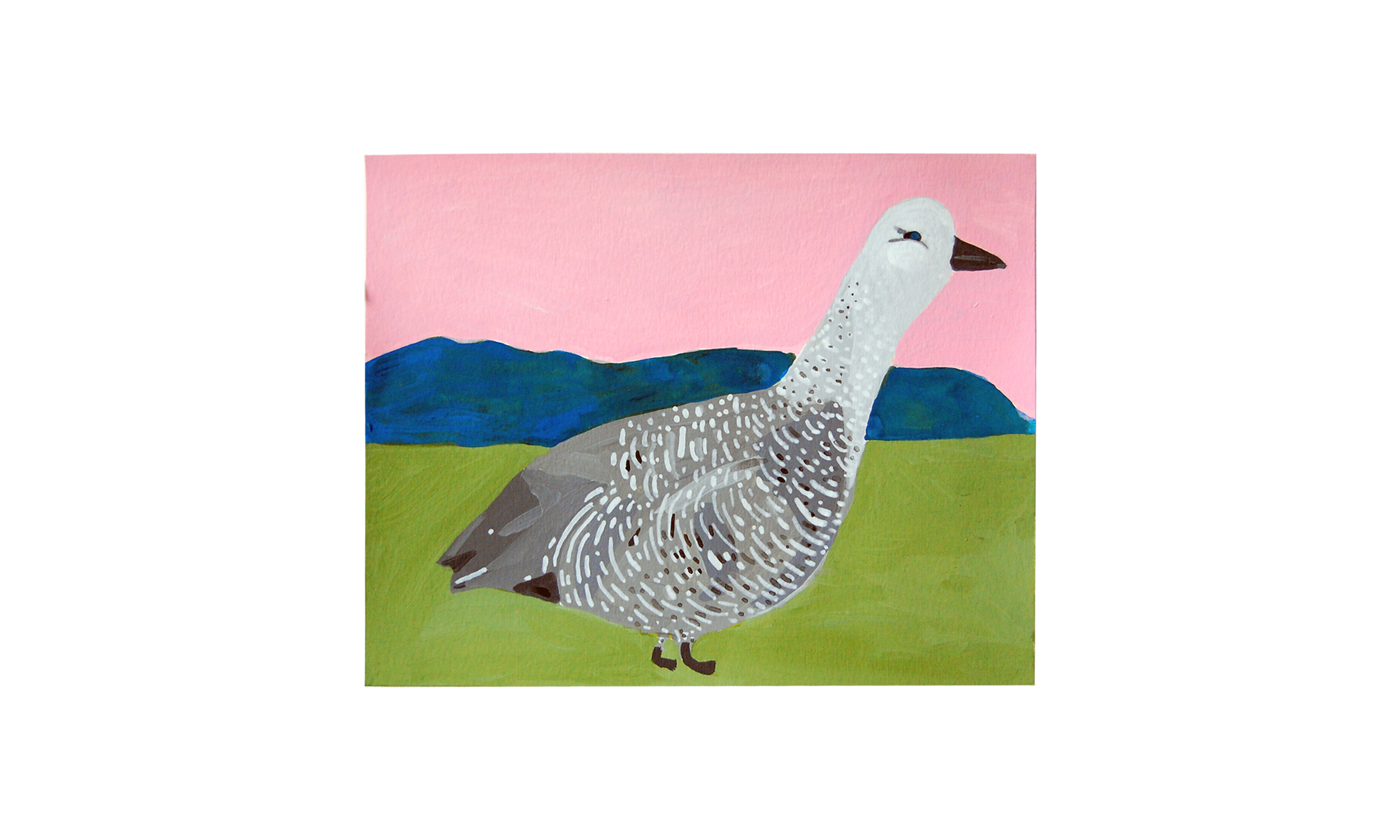"""Uplaad Goose,  ink, watercolor and gouache on paper, 8"""" x 10"""", $250    Contact us for purchase"""