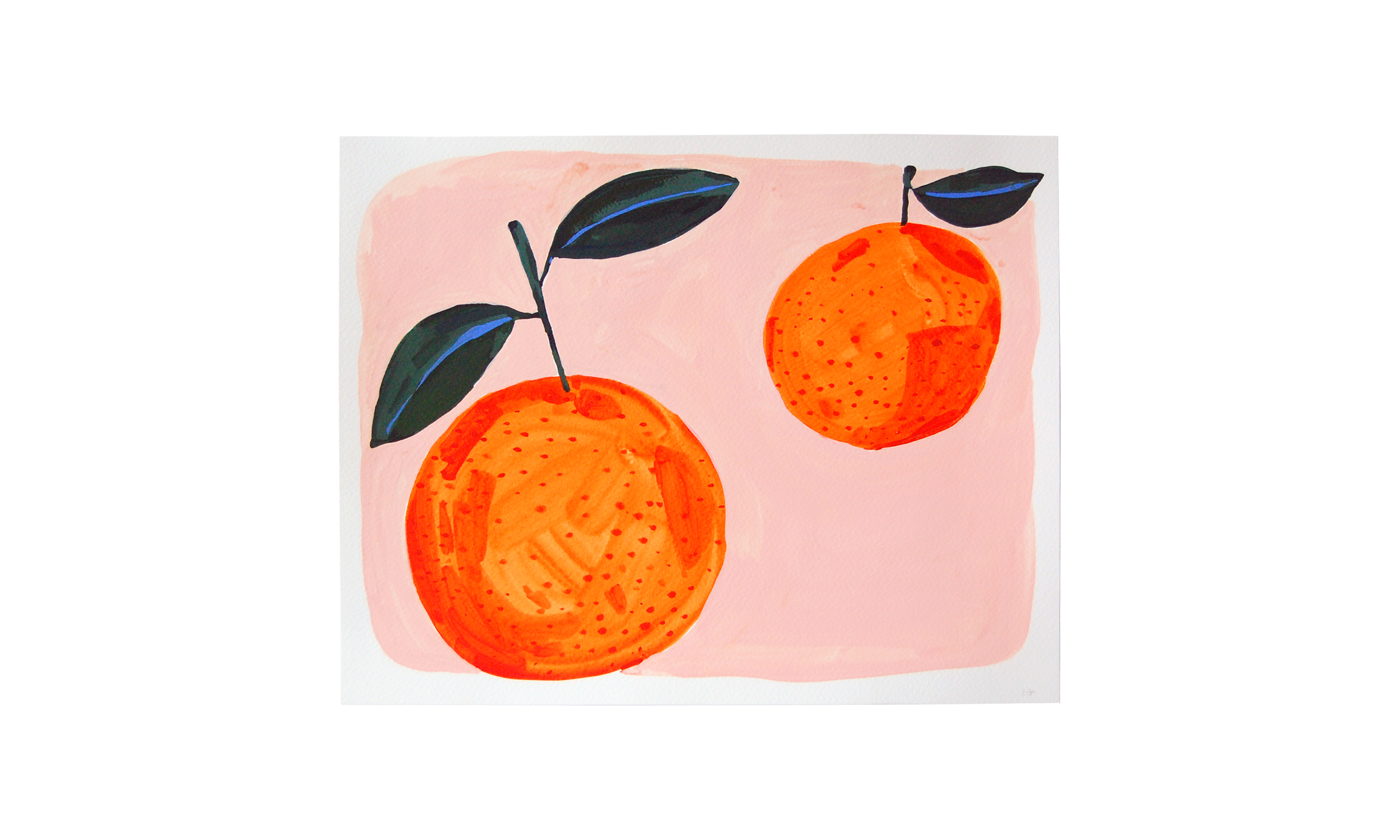 """Two Oranges,  ink, watercolor and gouache on paper, 11"""" x 14"""", $250    Contact us for purchase"""