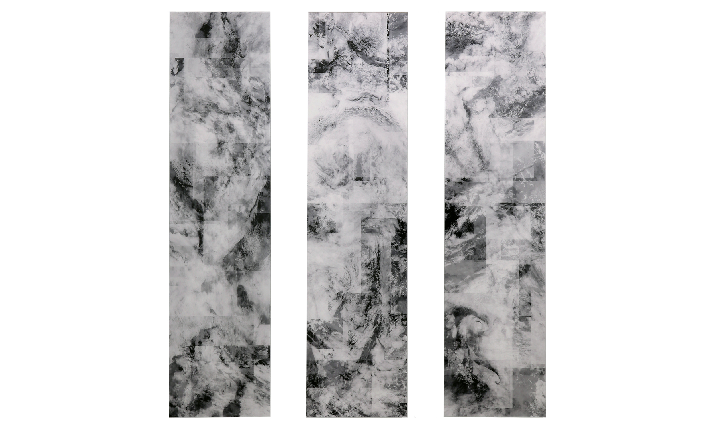 """Another Storm Named After A Woman, 306 layered satellite images taken over the Amundsen Sea, Fujiflex prints, plexiglass, 1.75"""" x 13"""" x 52"""", $5500    Contact us for purchase"""