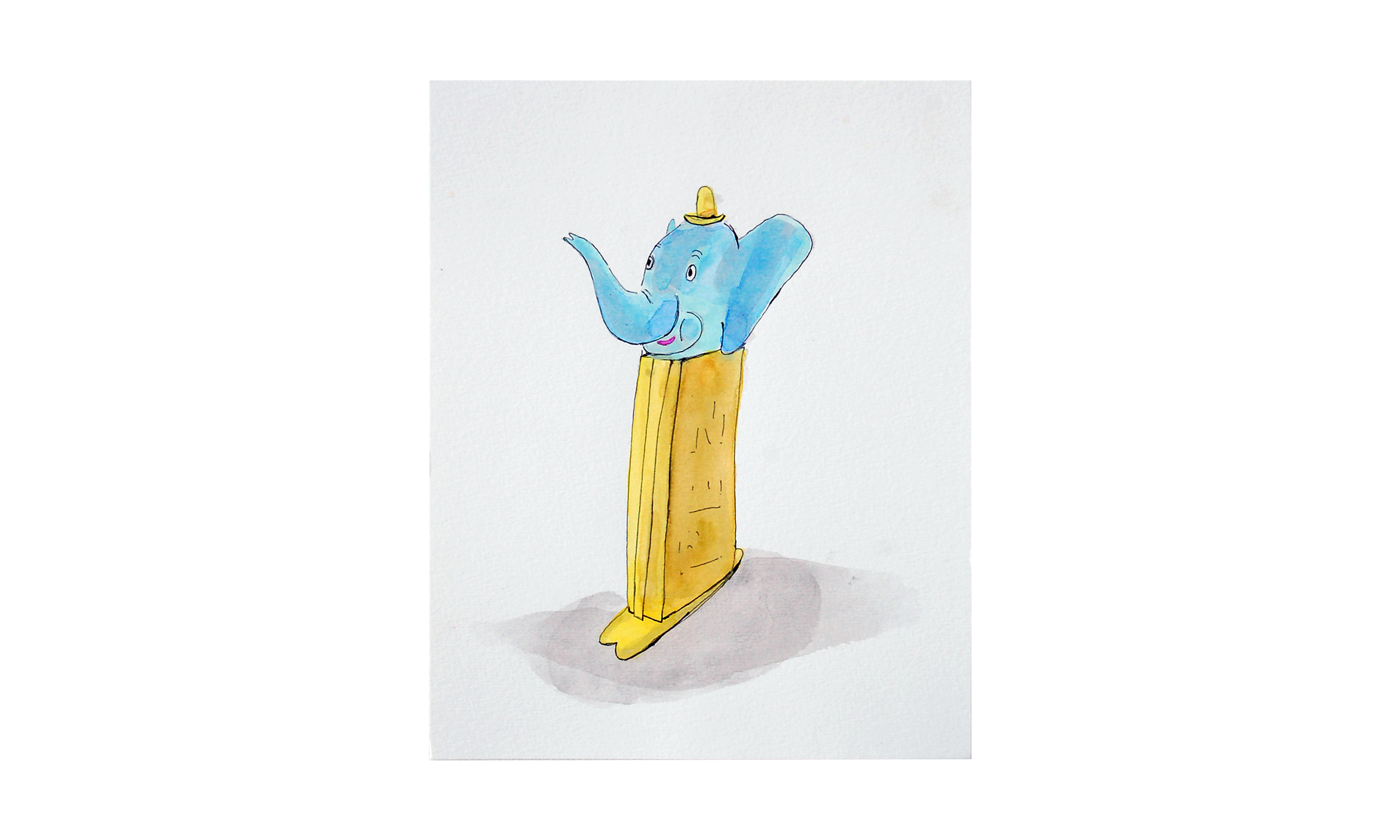 """Elephant Pez,  ink and watercolor on paper, 8"""" x 10"""", $175    Contact us for purchase"""