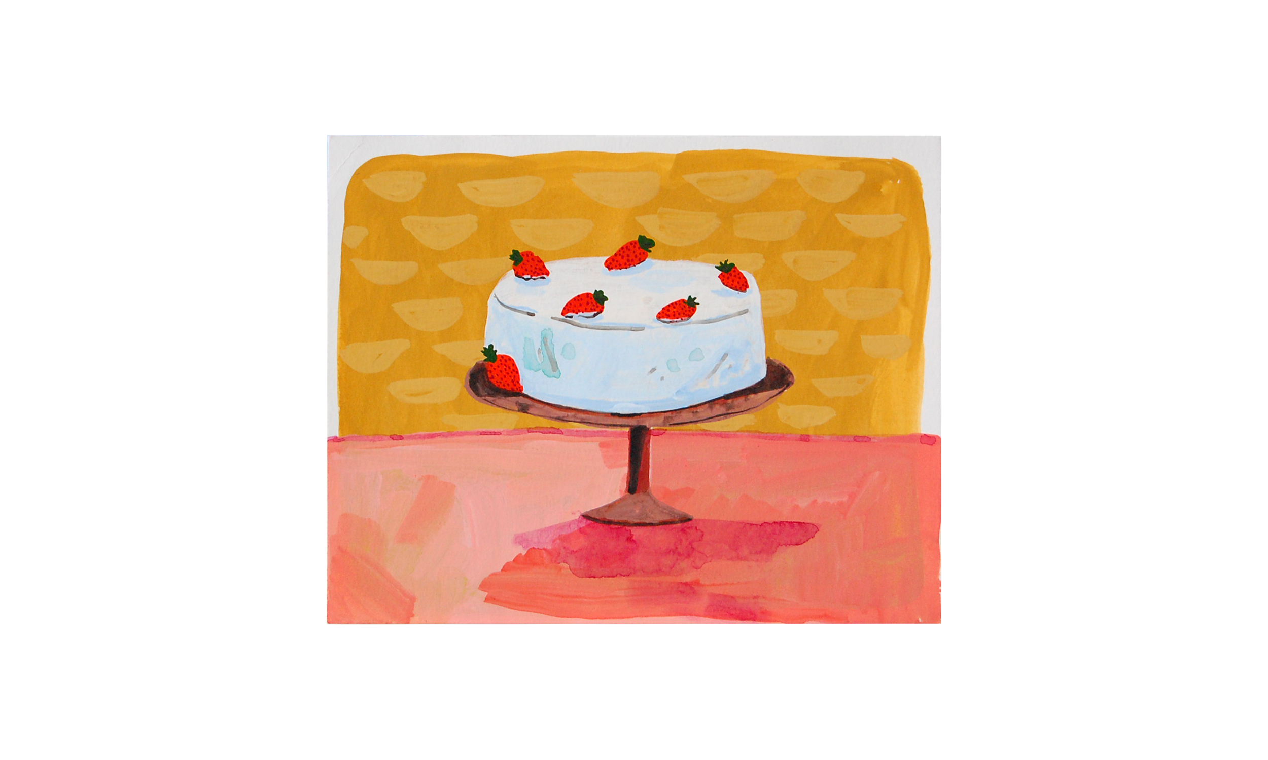 """Strawberry Cake,  ink, watercolor and gouache on paper, 8"""" x 10"""", $200    Contact us for purchase"""