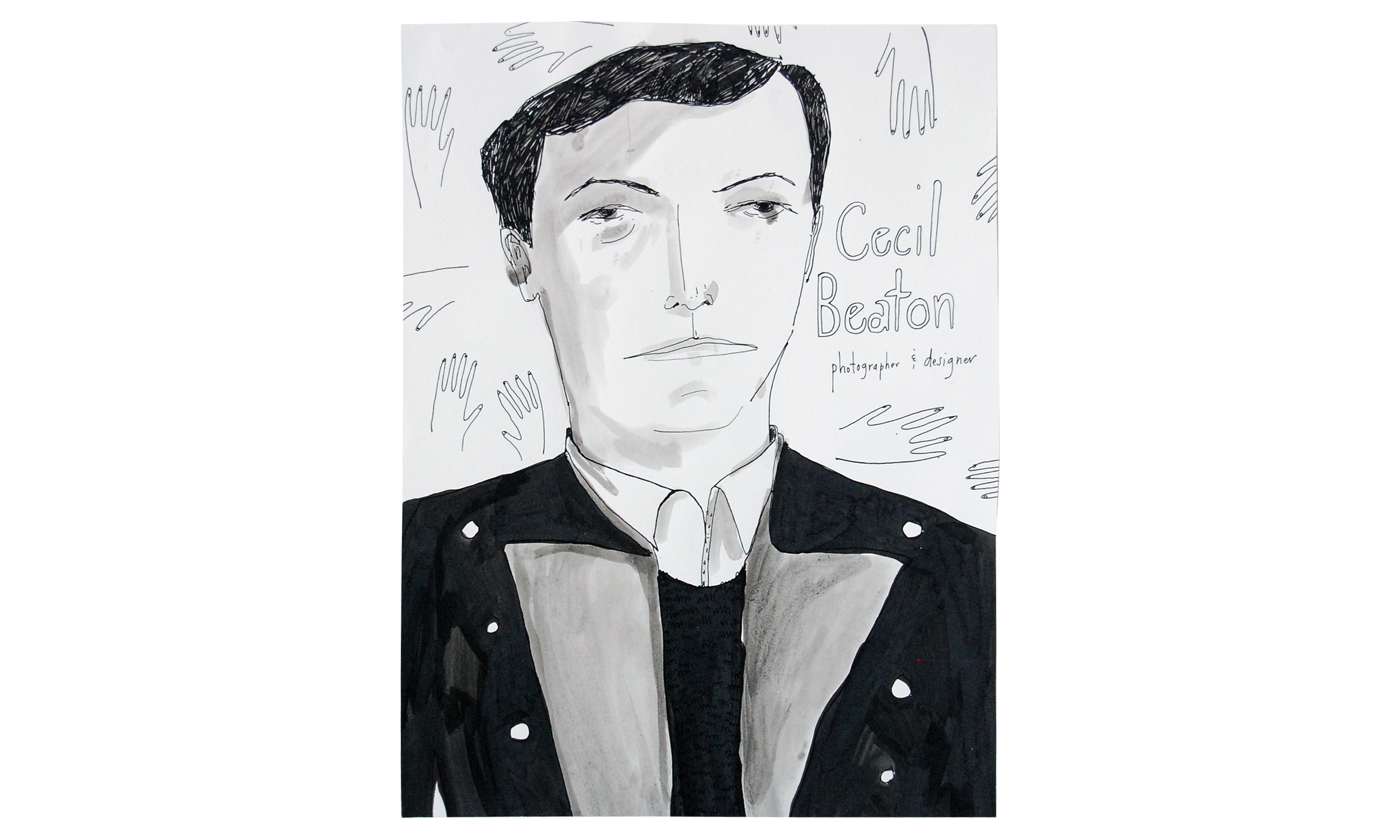 """Cecil Beaton,  ink on paper, 12"""" x 16"""", $200    Contact us for purchase"""